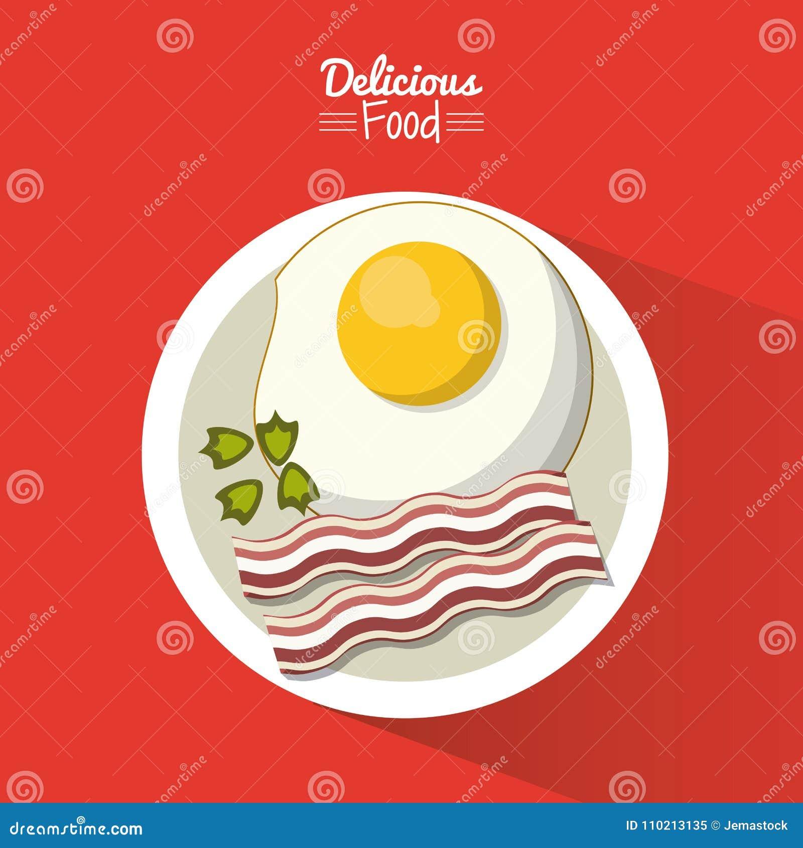 Köstliches Lebensmittel des Plakats im roten Hintergrund mit Teller des Spiegeleies mit Speck