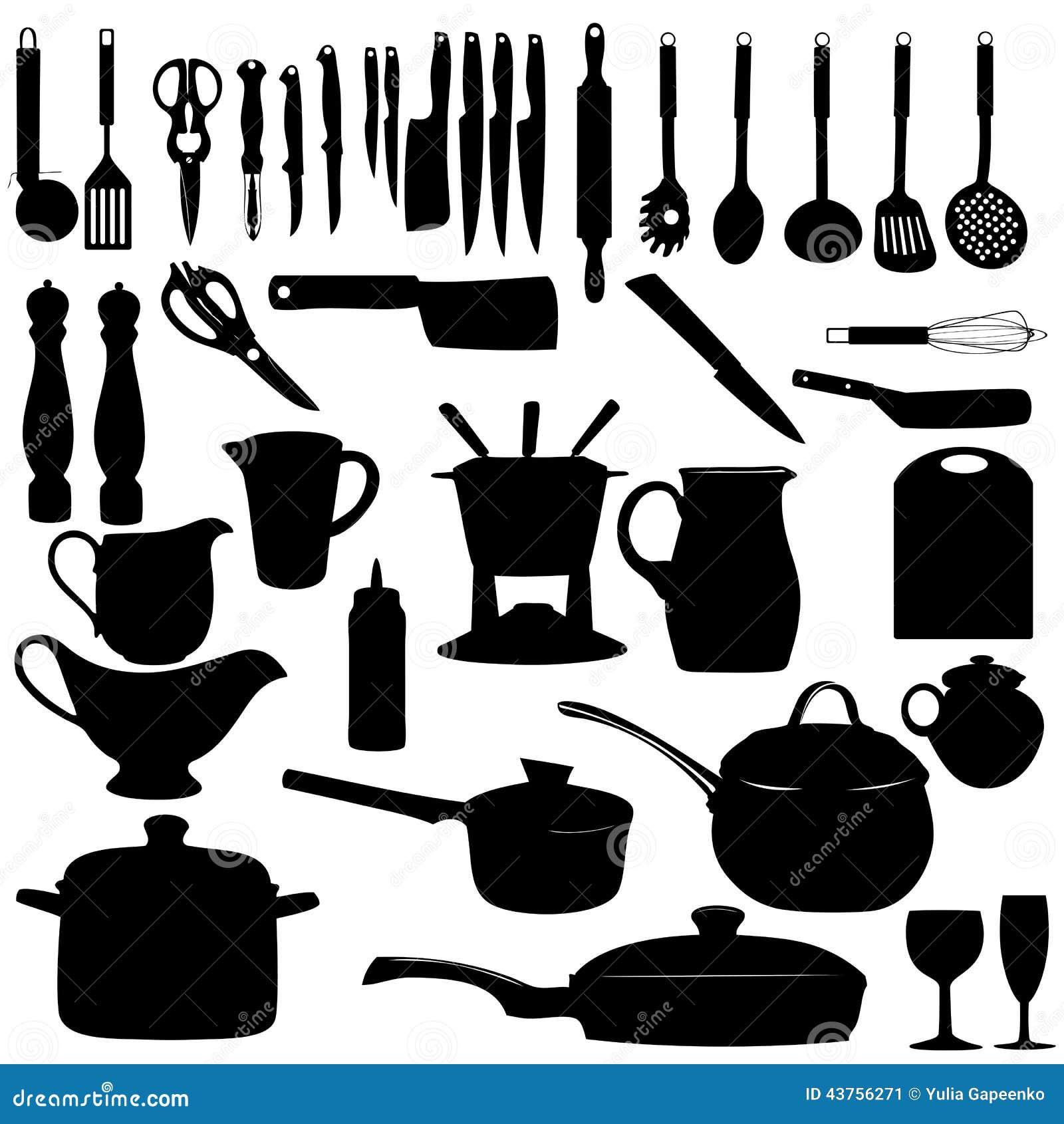 Küche bearbeitet Schattenbild-Vektorillustration