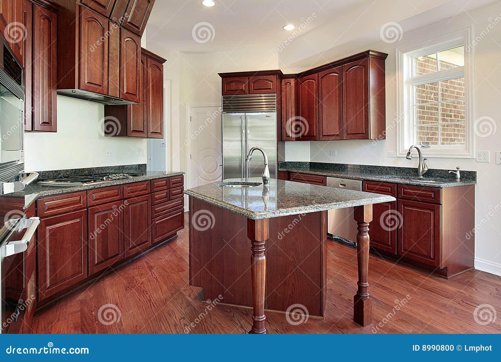 Küche im Kirschholz stockfoto. Bild von fußboden, haupt - 8990800
