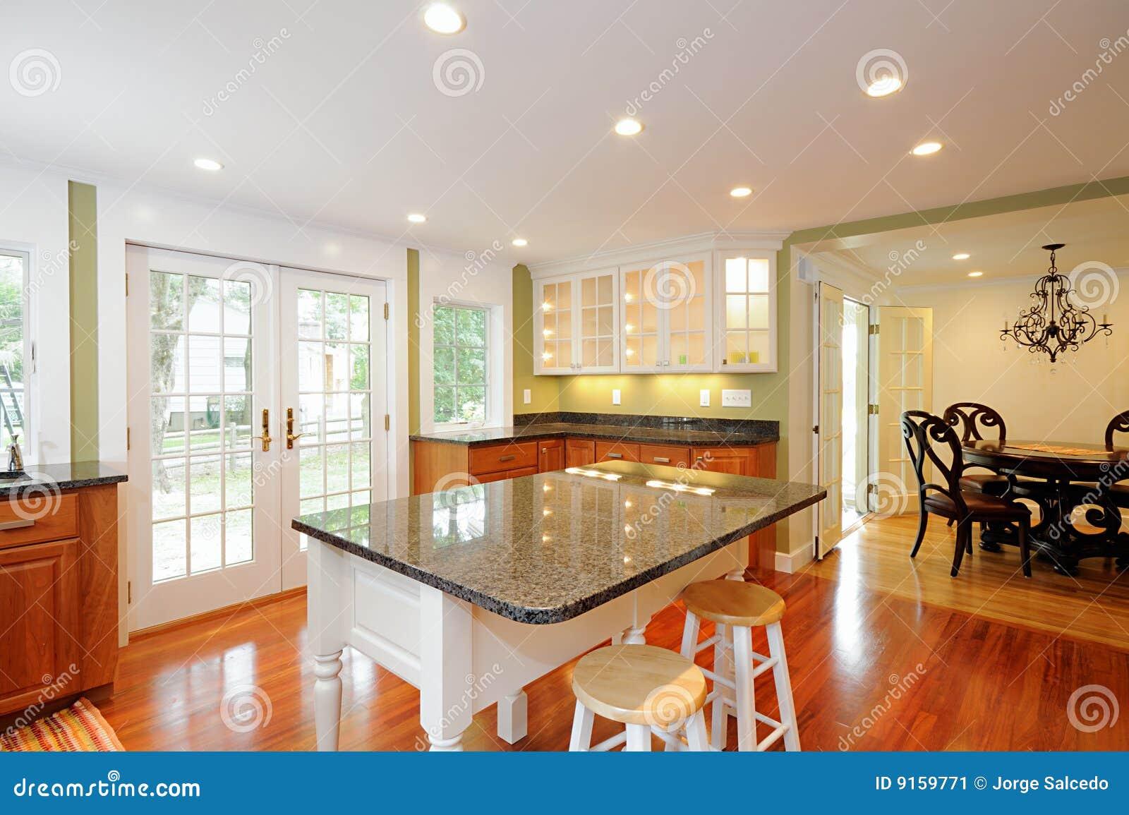 Küche-Insel stockbild. Bild von auslegung, fußboden, insel - 9159771