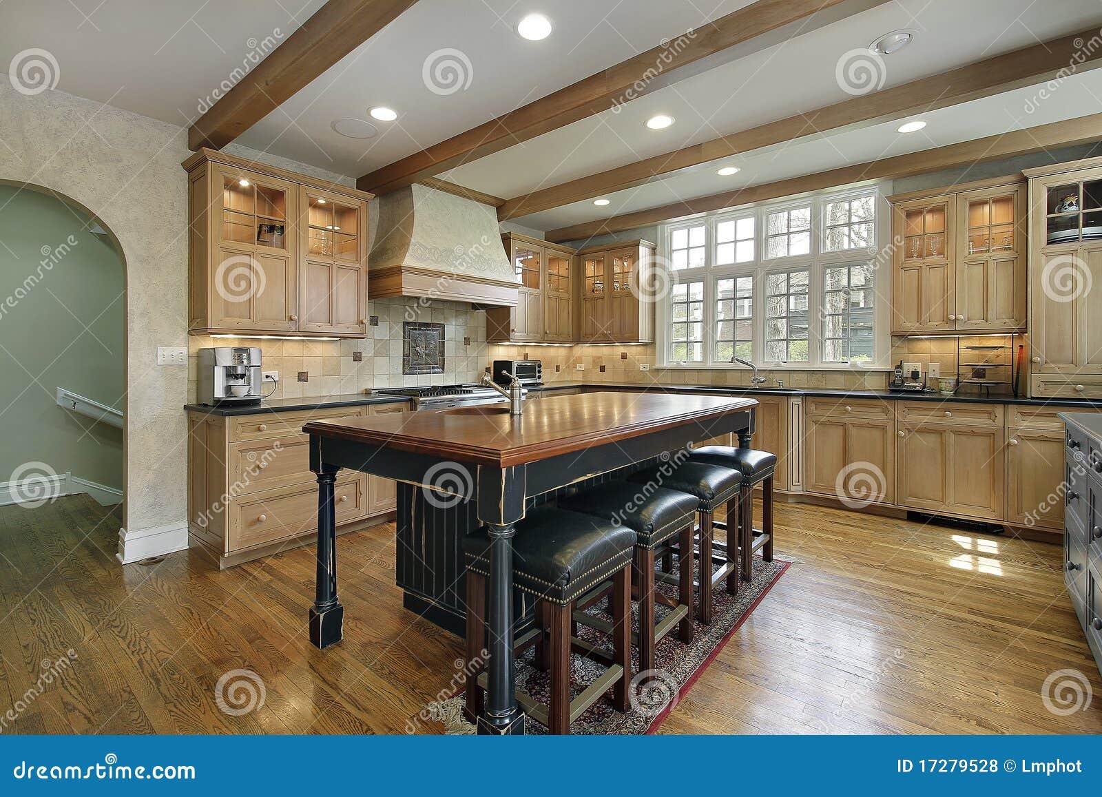 Küche mit Mittelinsel stockfoto. Bild von küche, granit - 17279528