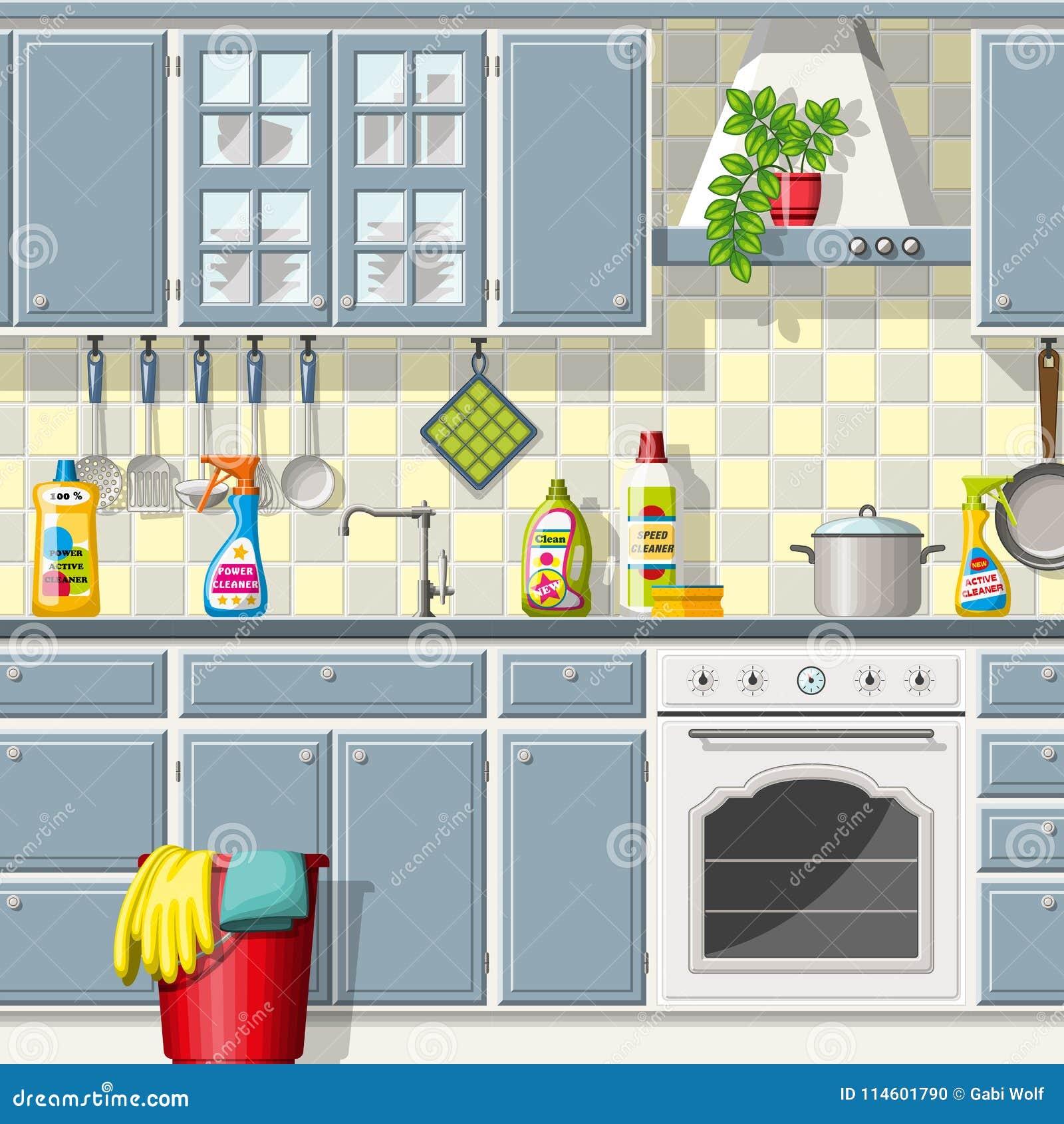 Küche Mit Verschiedenen Reinigungsmitteln Vektor Abbildung ...