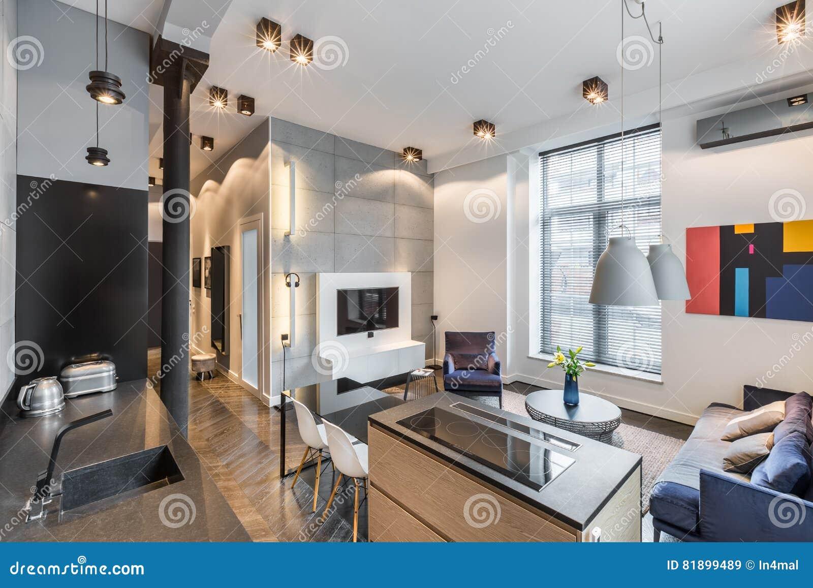 Kuche Offen Zum Wohnzimmer Stockbild Bild Von Couch 81899489