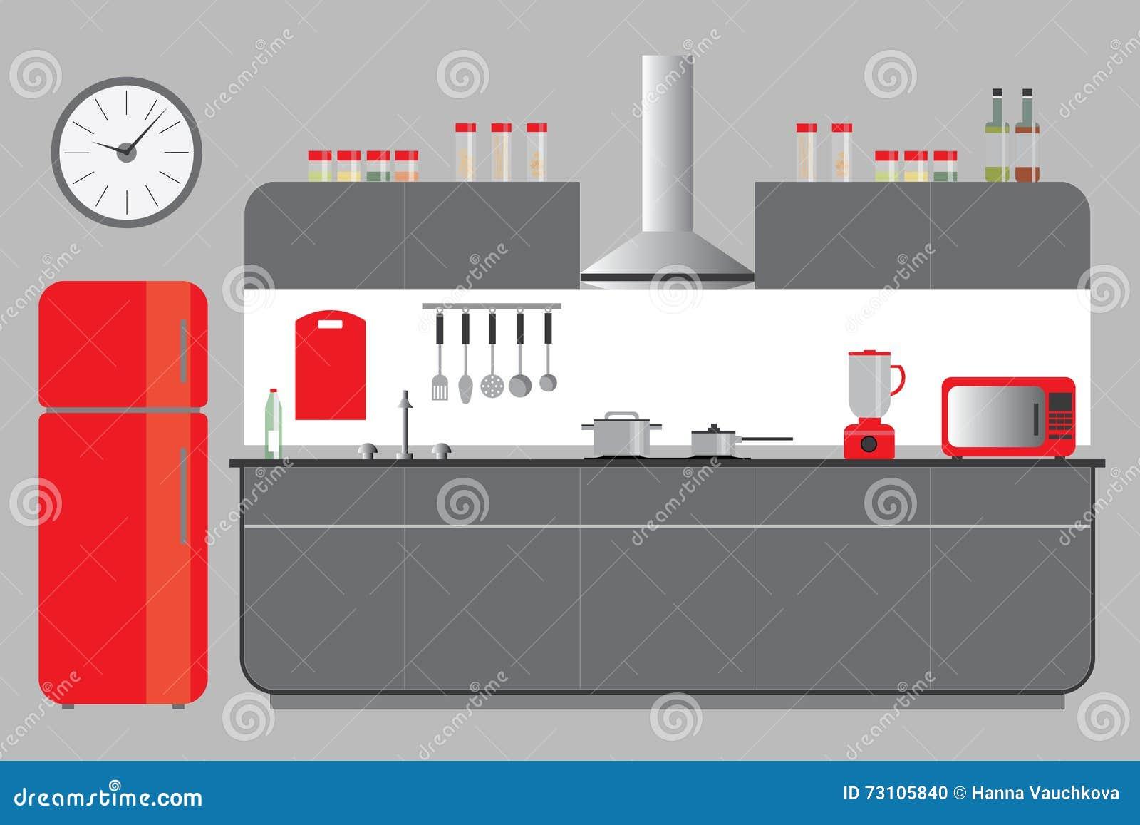 Küchen-Aufzug Mit Kabinett-Kühlschrank Hood Microvawe Flacher Vektor ...
