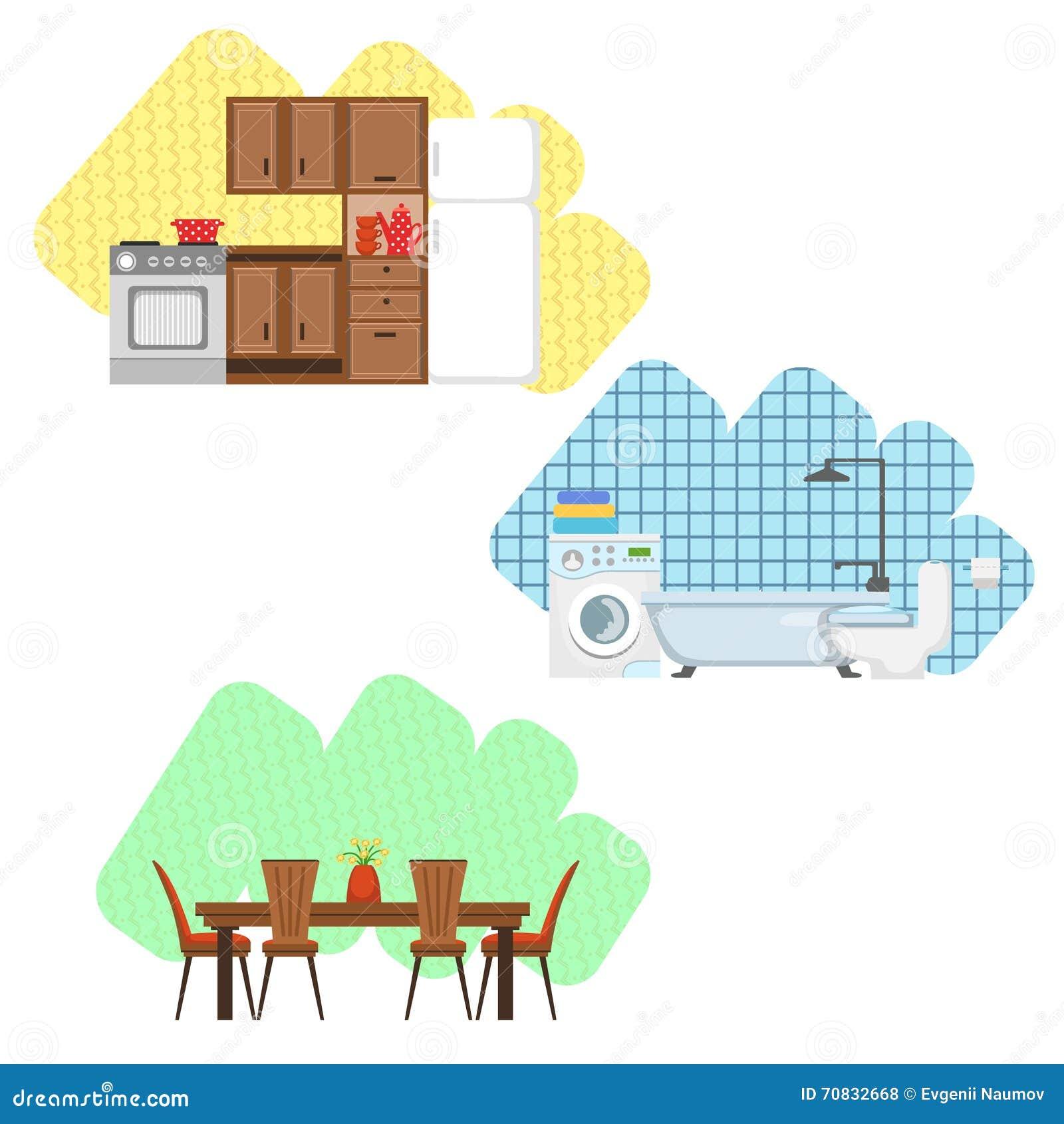 Küchen Badezimmer Und Esszimmer Innenarchitektur Satz