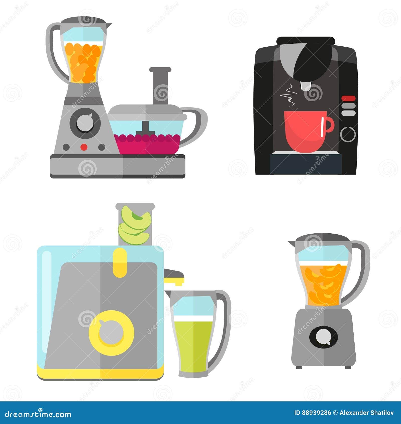 Küchenelektrogeräte Eingestellt Für Das Kochen Kaffeemaschine ...