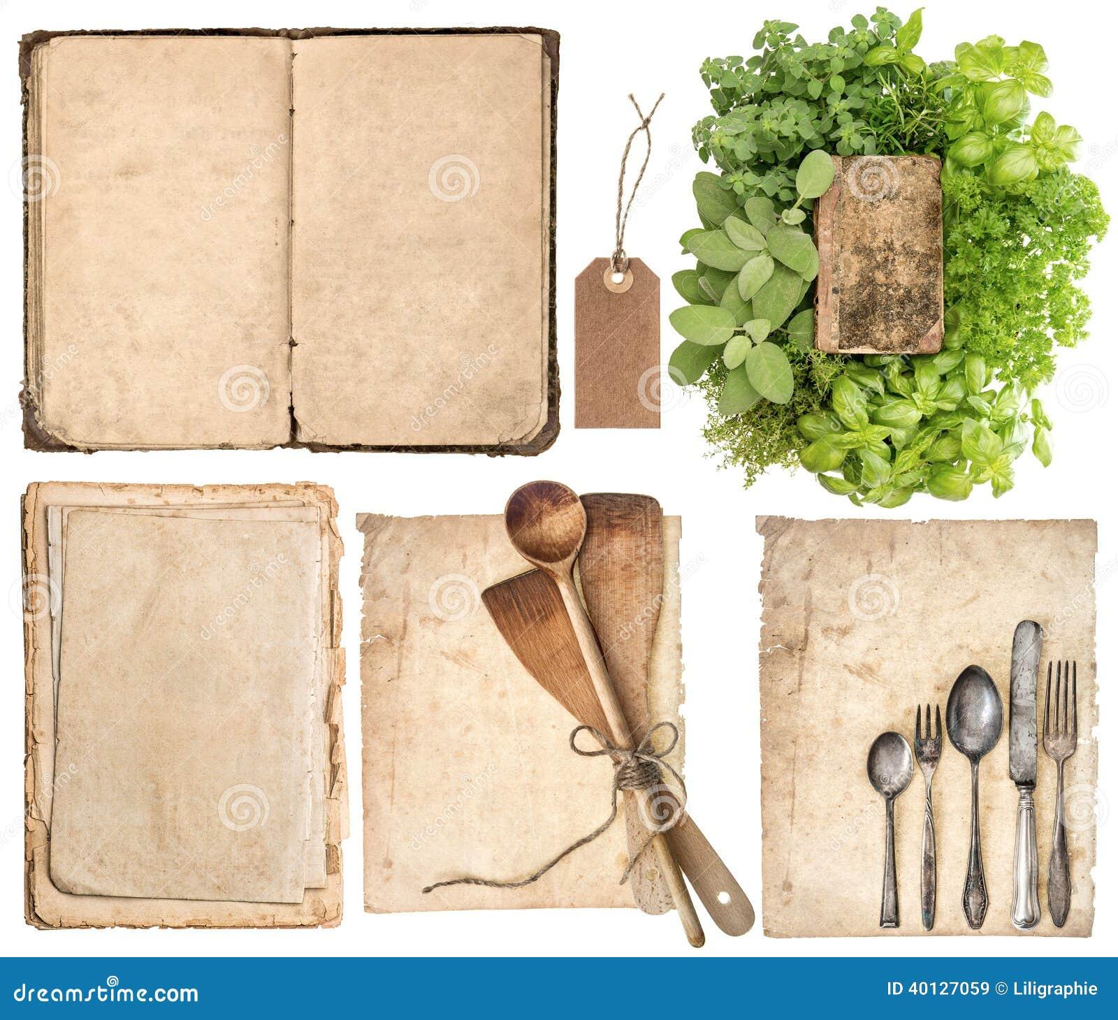 k chenger te altes kochbuch seiten und kr uter stockbild bild von kochen cuisine 40127059. Black Bedroom Furniture Sets. Home Design Ideas