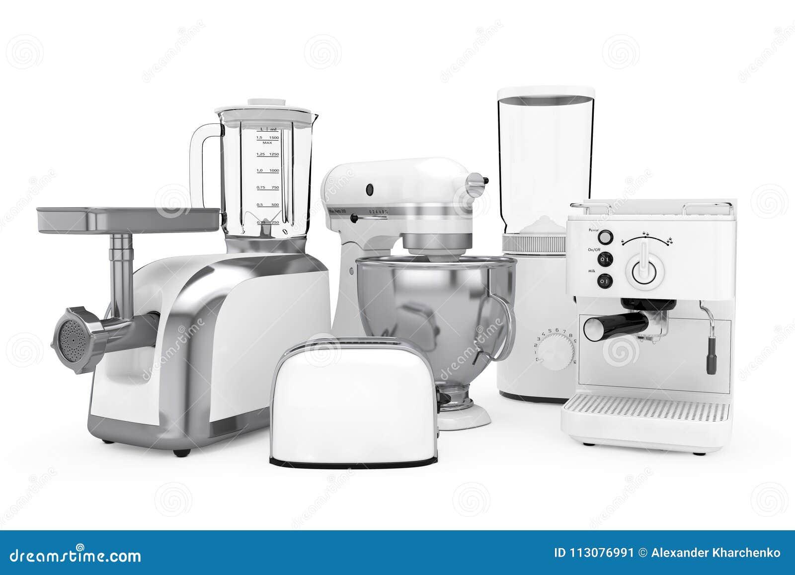 Kuchengerate Eingestellt Weisse Mischmaschine Toaster Kaffee