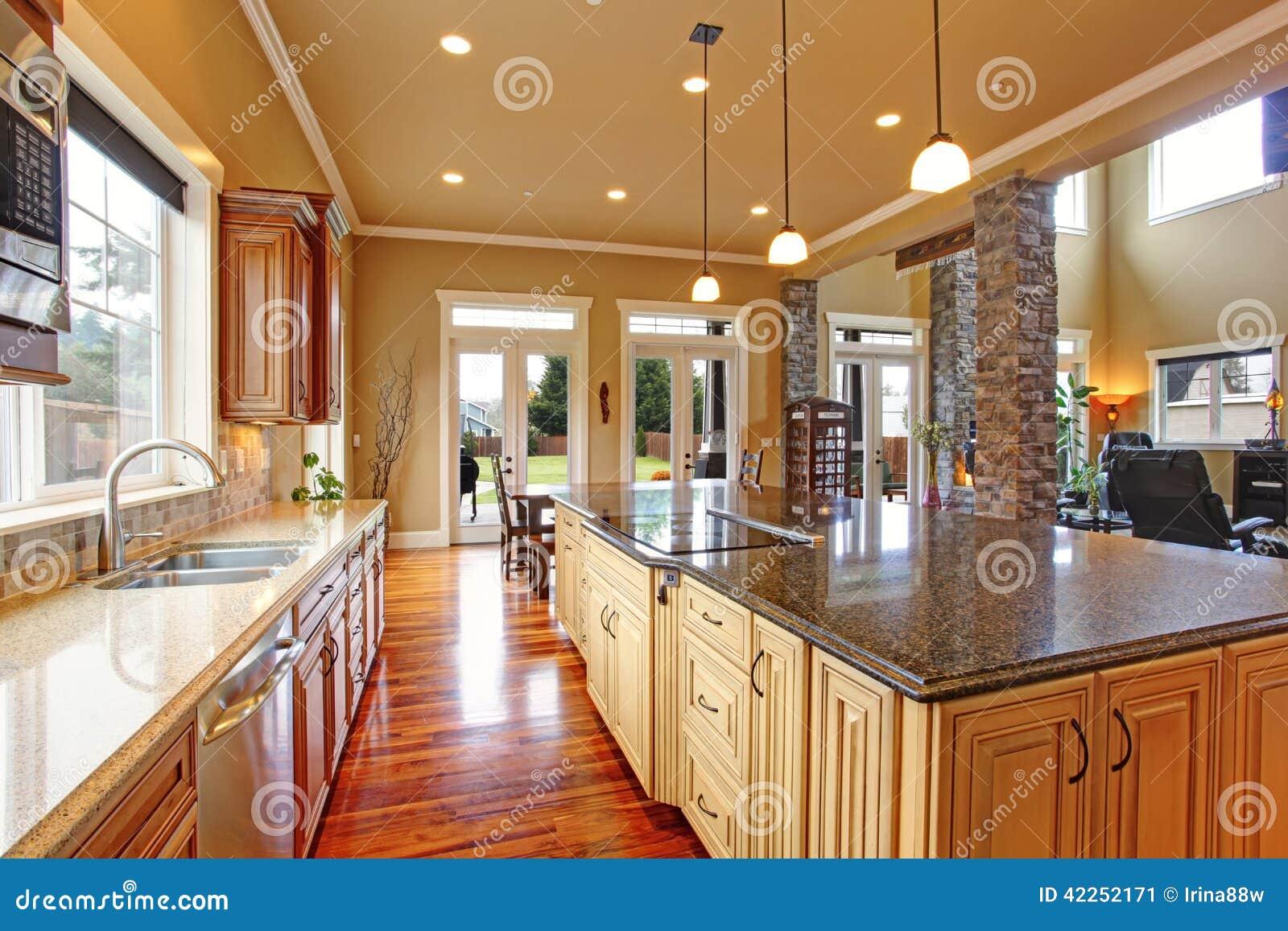 Kücheninnenraum Im Luxushaus Stockbild - Bild von innen, zustand ...