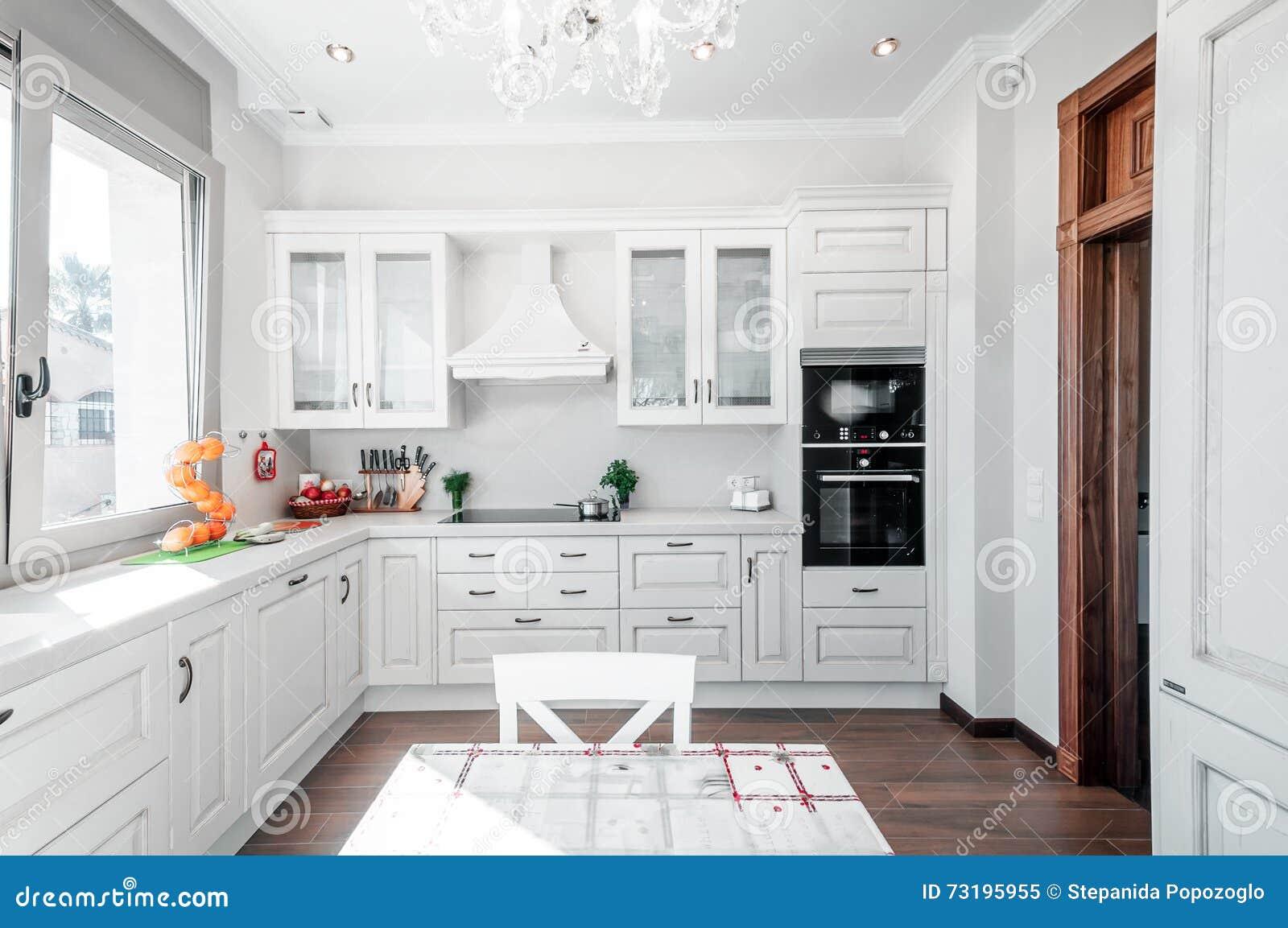 Kücheninnenraum Im Neuen Luxushaus Mit Note Von Retro ...