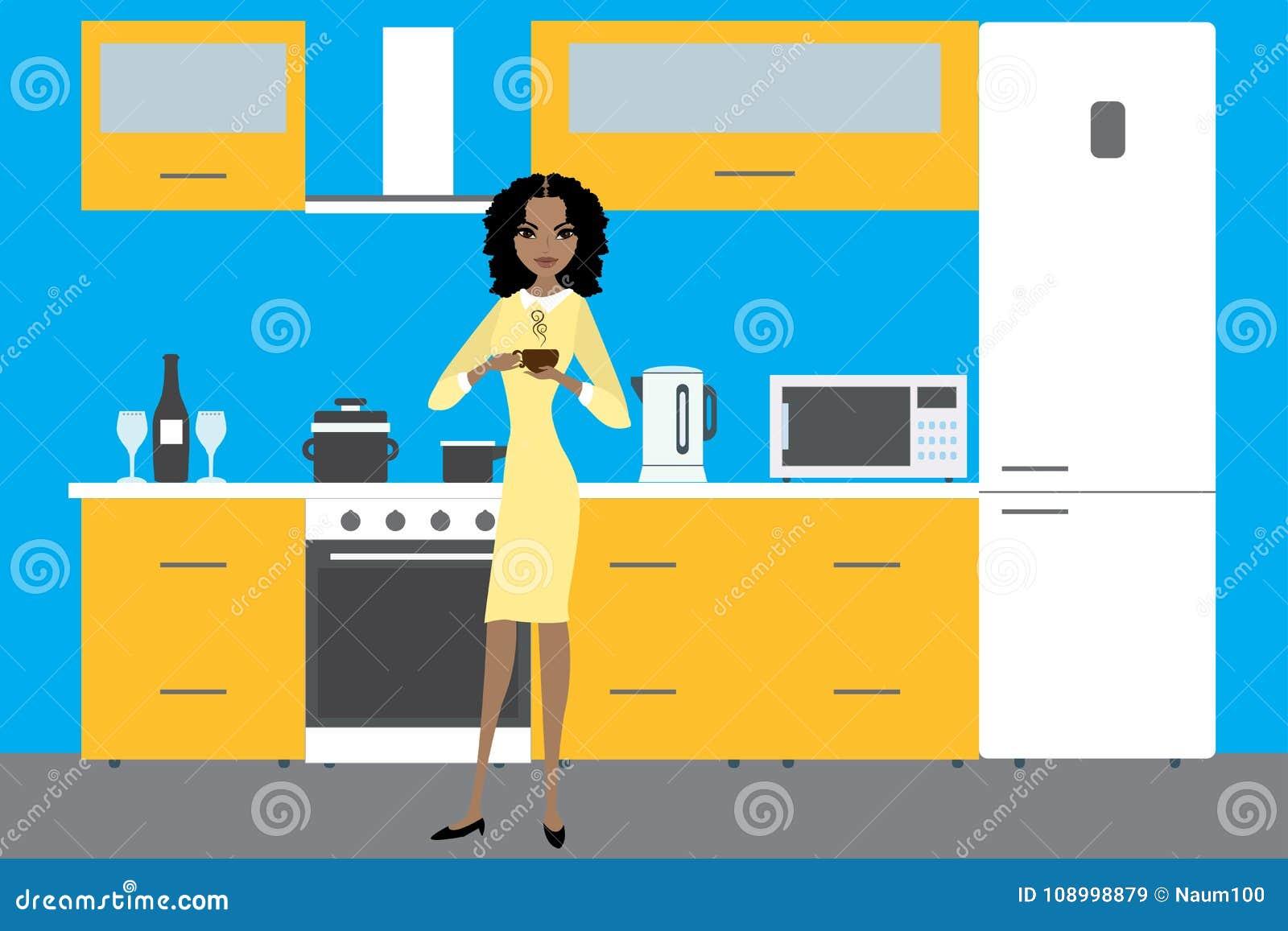 Kücheninnenraum mit Möbeln, Geräten, Geräten und Afrikaner morgens