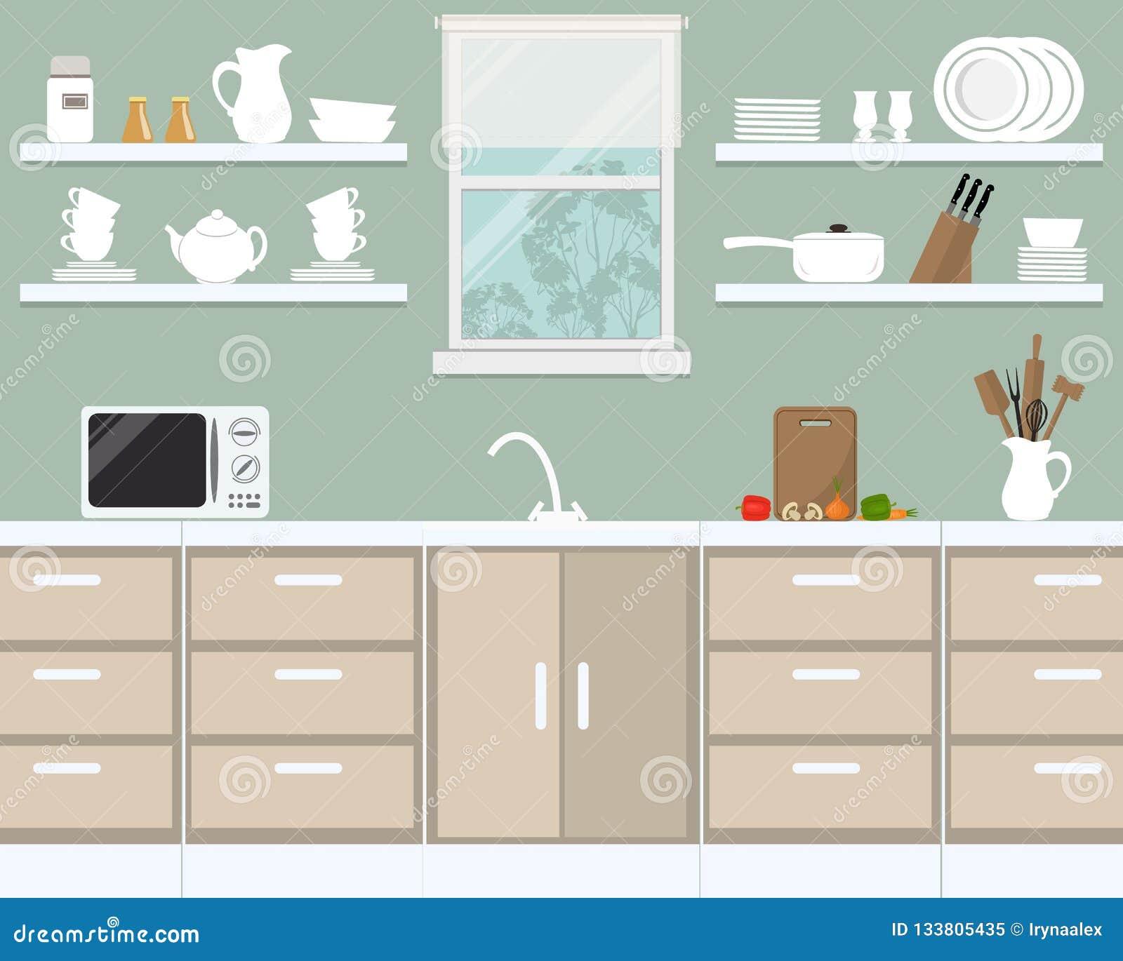 Kücheninnenraum in Provence-Farbe