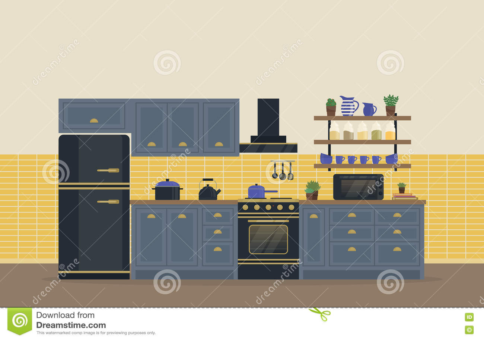Kühlschrank Krug : Küchenraum für das lebensmittel das innenraum mit ofen oder ofen