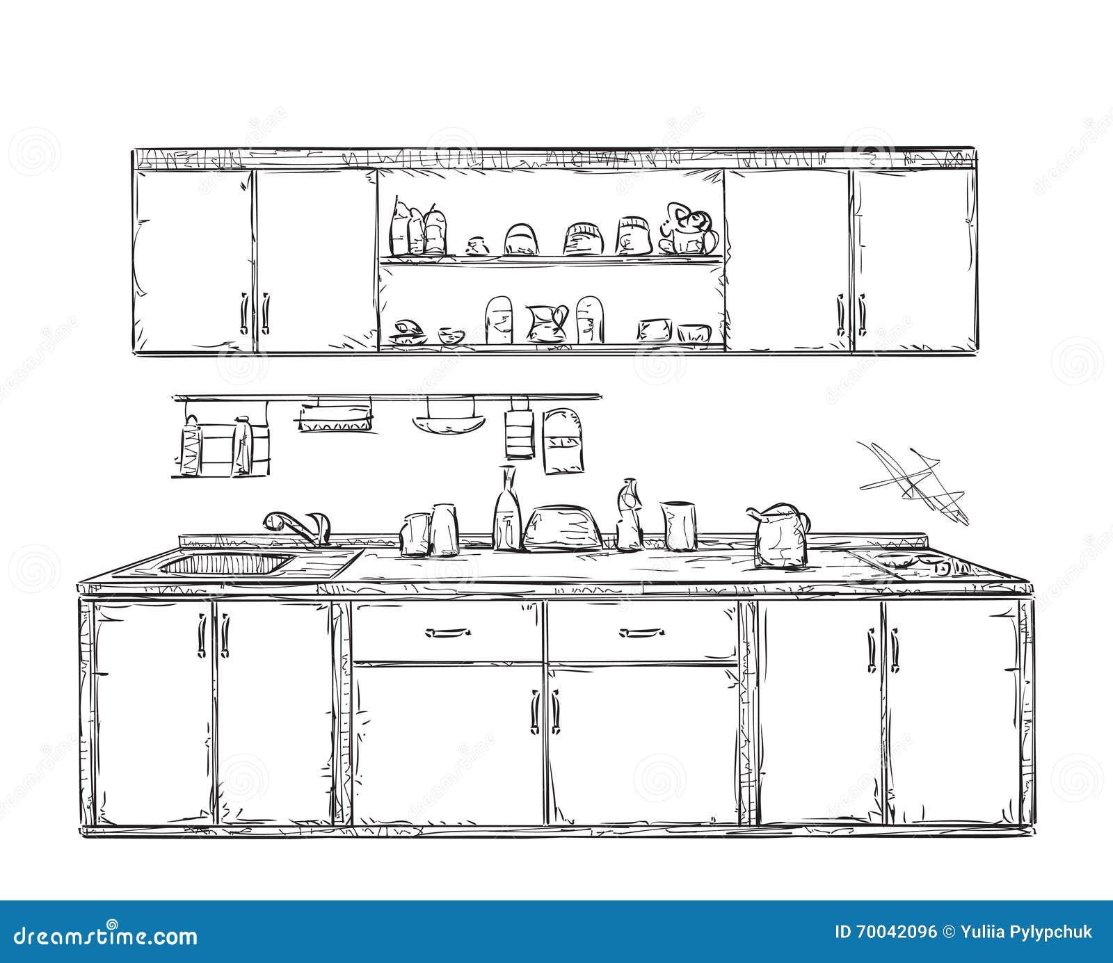 Schrank gezeichnet  Küchenschrank, Küche Legt Beiseite, Die Gezeichnete Hand Vektor ...