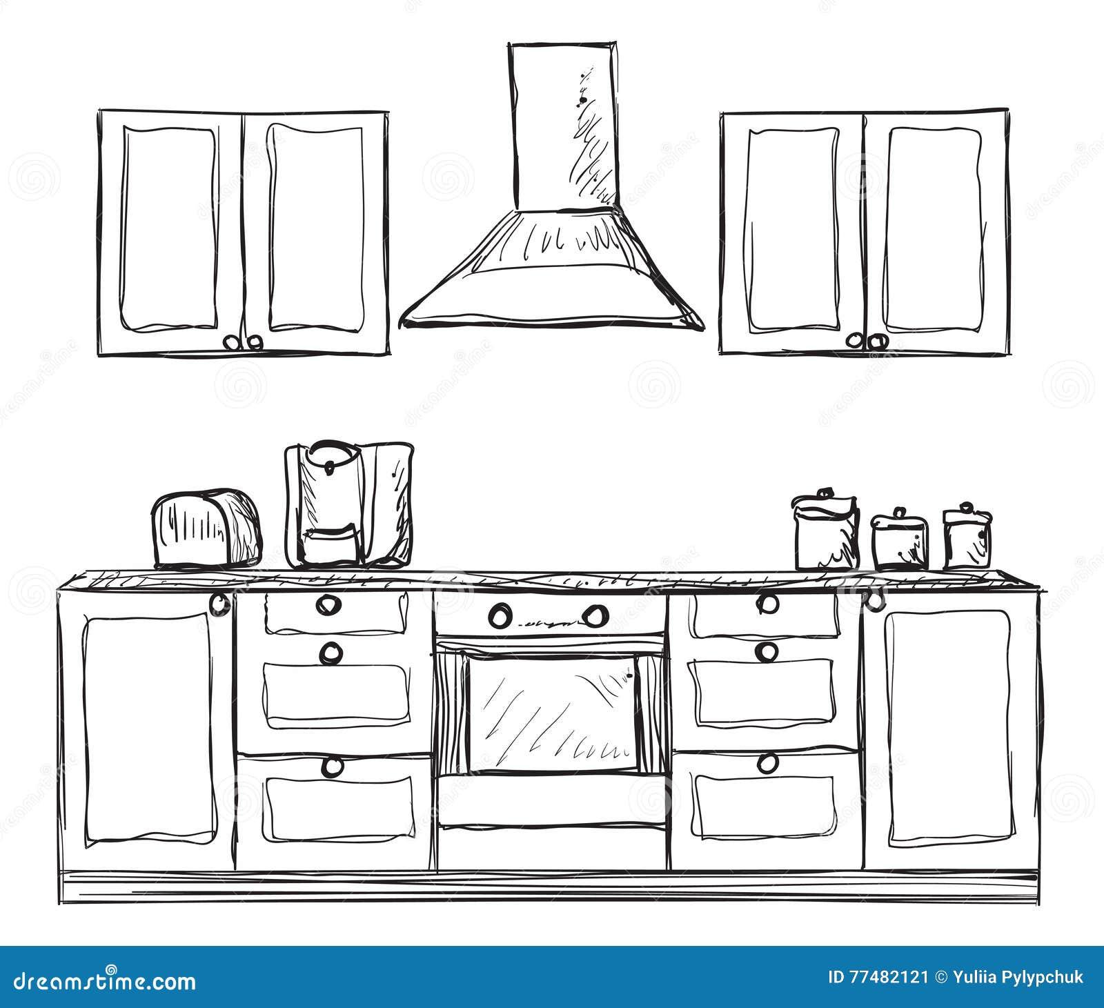 Schrank gezeichnet  Küchenschrank, Regale, Hand Gezeichnet Vektor Abbildung - Bild ...