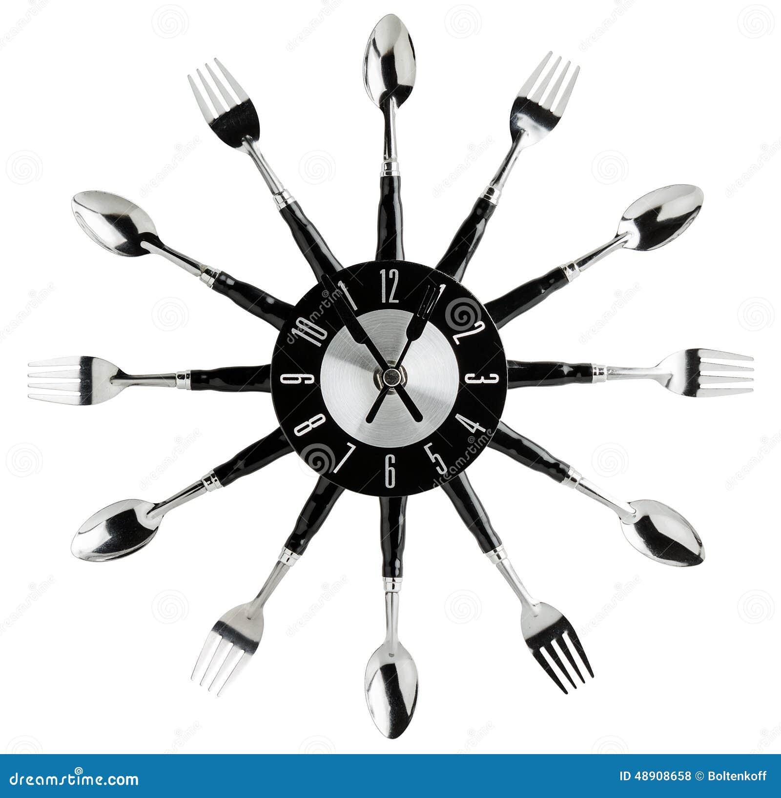 Küchenwanduhr stockfoto. Bild von schwarzes, wand, getrennt - 48908658