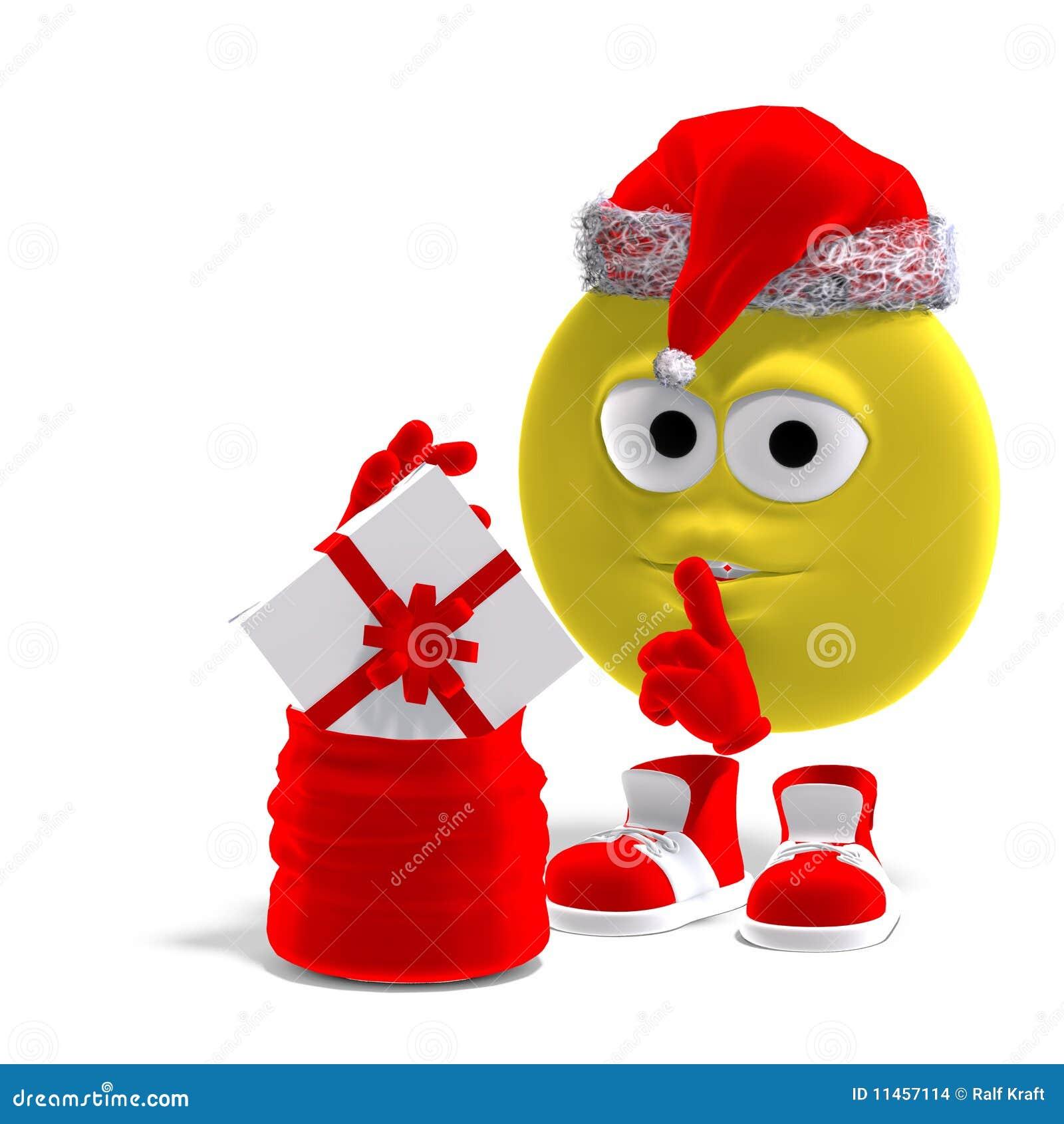 Kühler Und Lustiger Emoticon Für Weihnachten Stock Abbildung ...