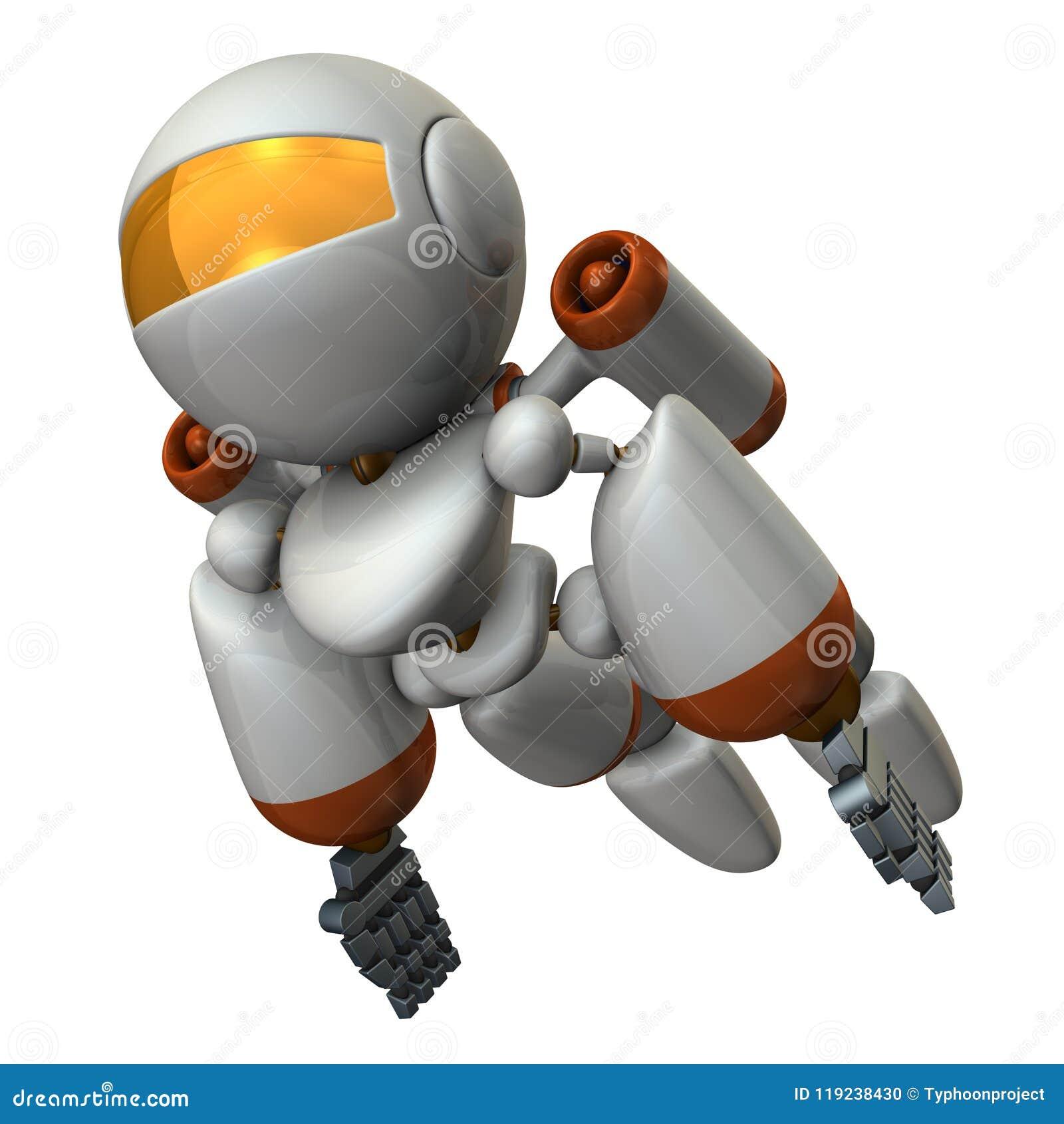Kühles Roboterfliegen im Himmel Es ist stark tapfer
