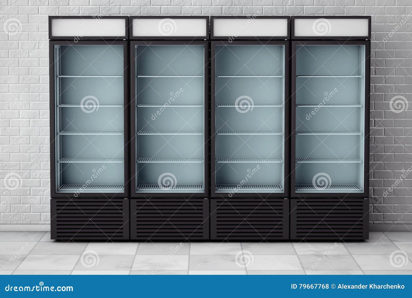 Kühlschrank-Getränk Mit Glastür Wiedergabe 3d Stock Abbildung ...