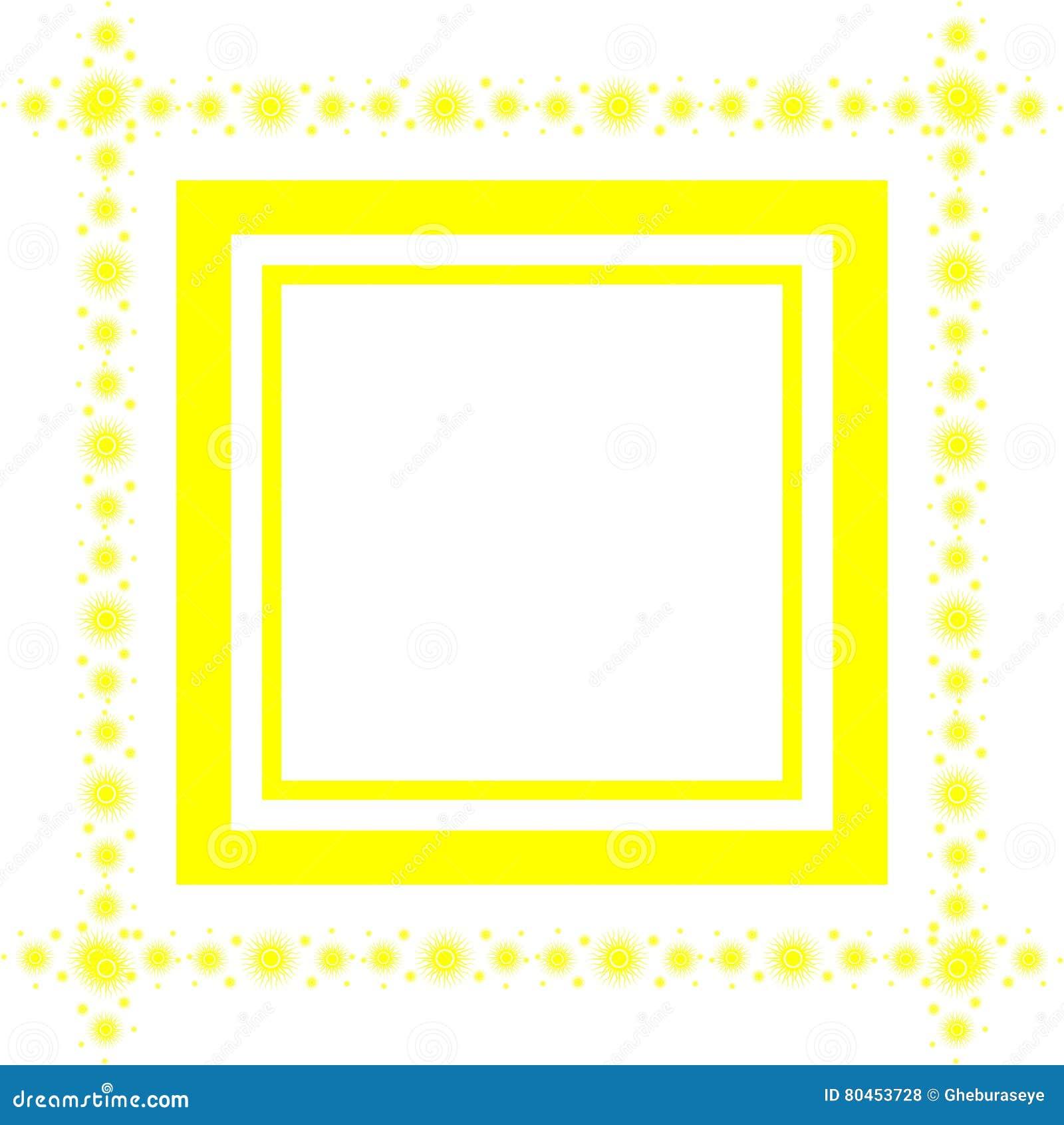 Künstlerischer Bunter Rahmen Im Gelb Lokalisiert Vektor Abbildung ...