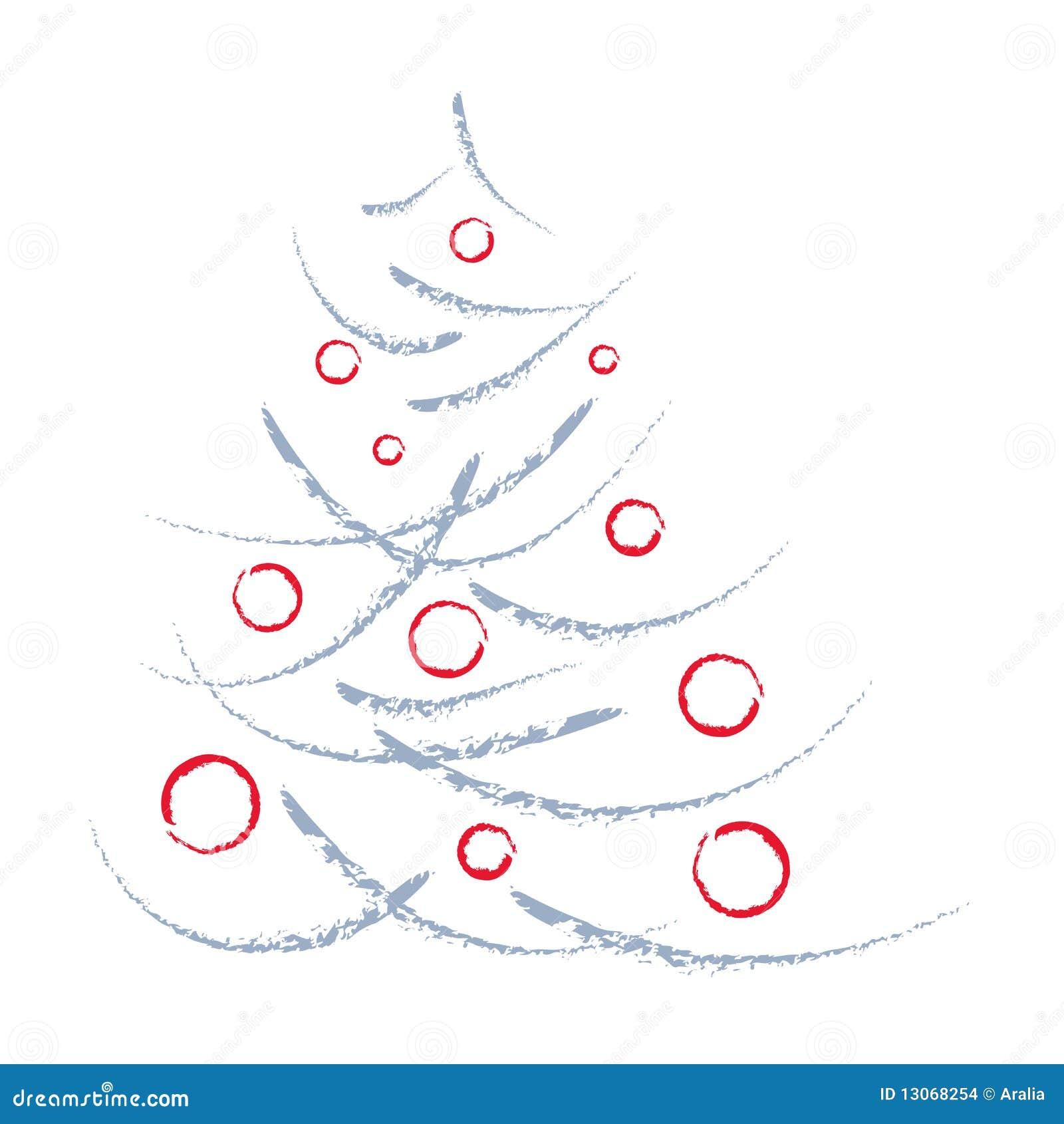 k nstlerischer weihnachtsbaum und rote kugeln stock. Black Bedroom Furniture Sets. Home Design Ideas