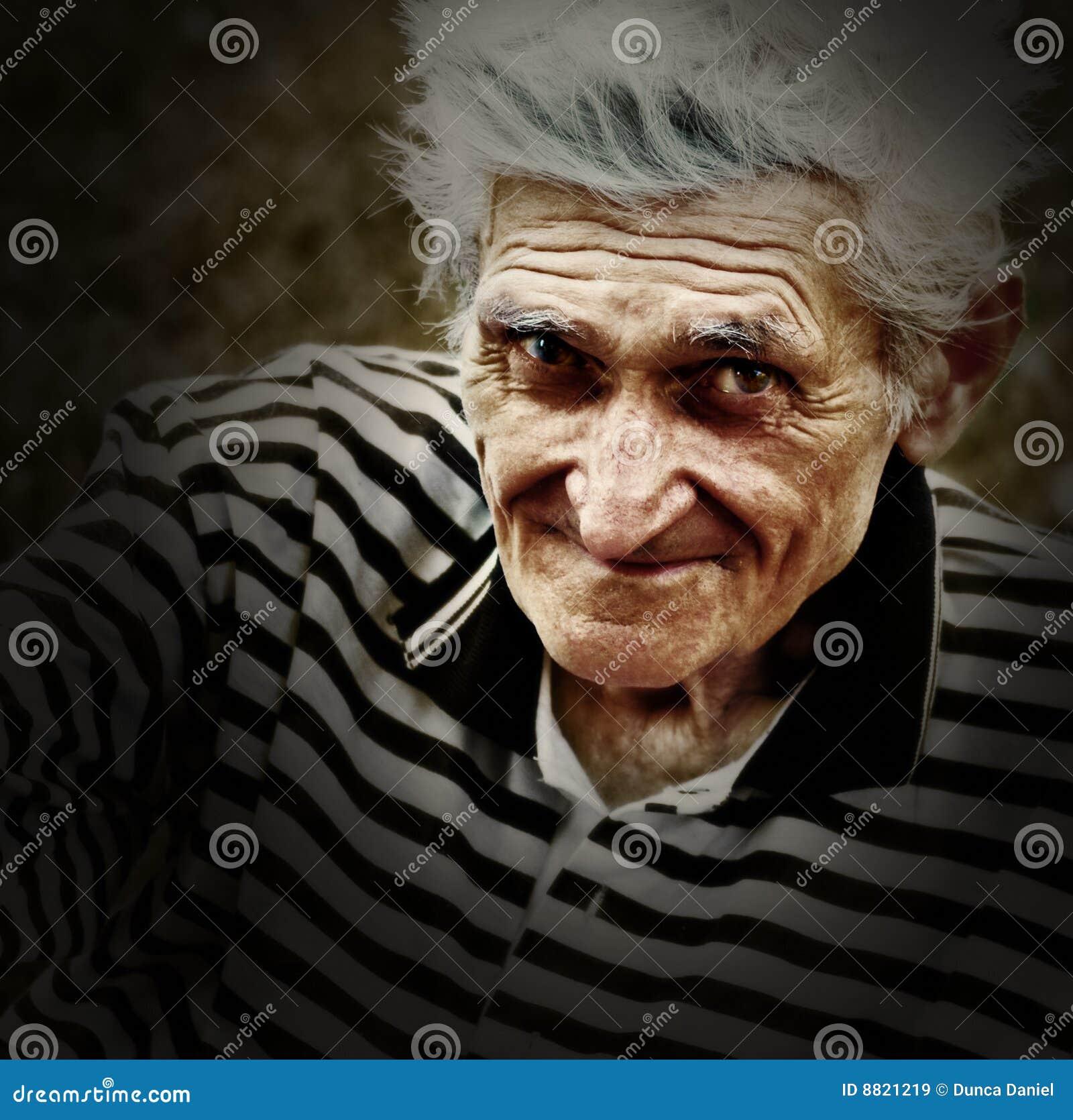 Künstlerisches Weinleseportrait des älteren alten Mannes