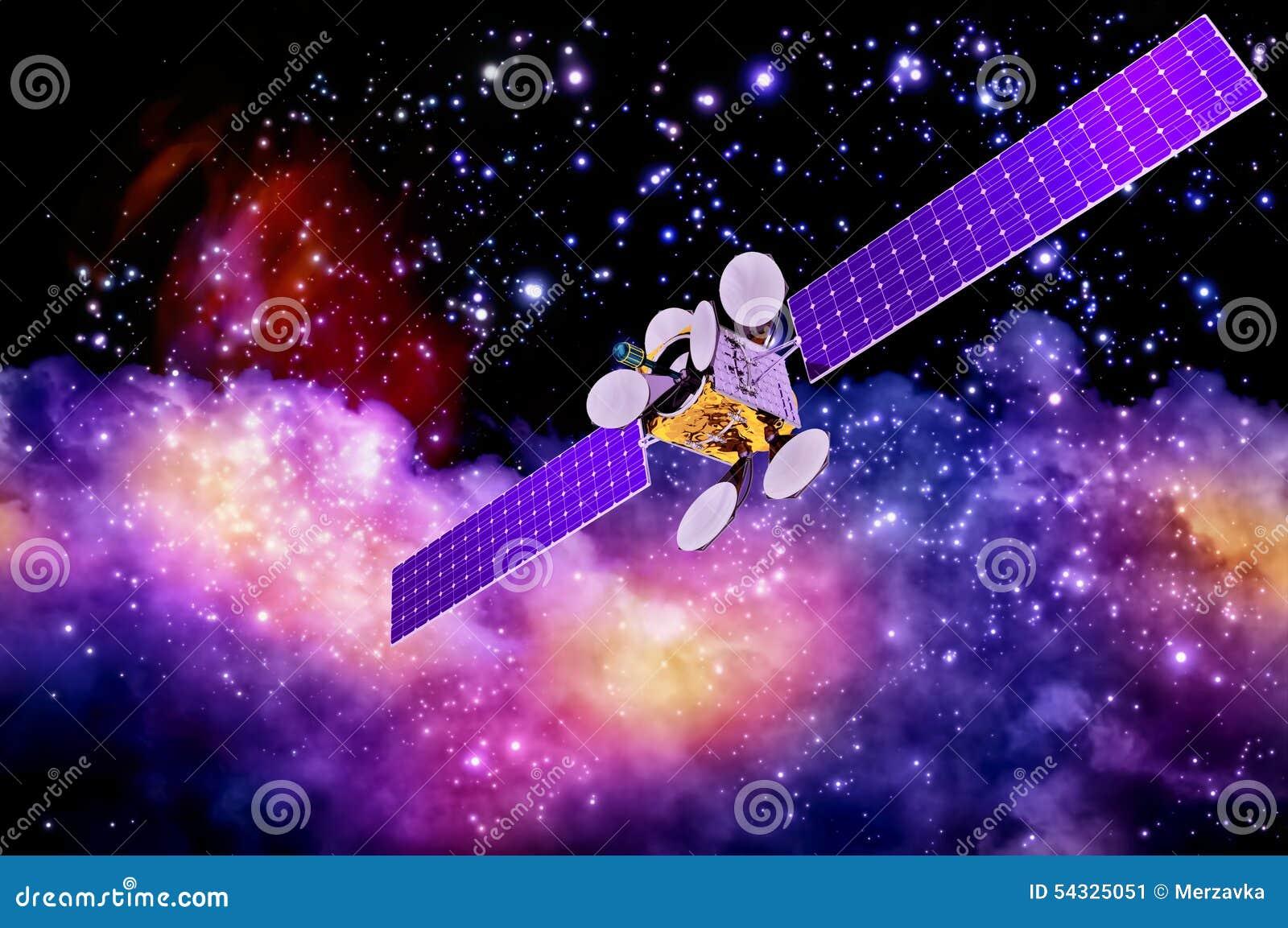 Künstlicher Satelitte gegen den Hintergrund des Nebelflecks
