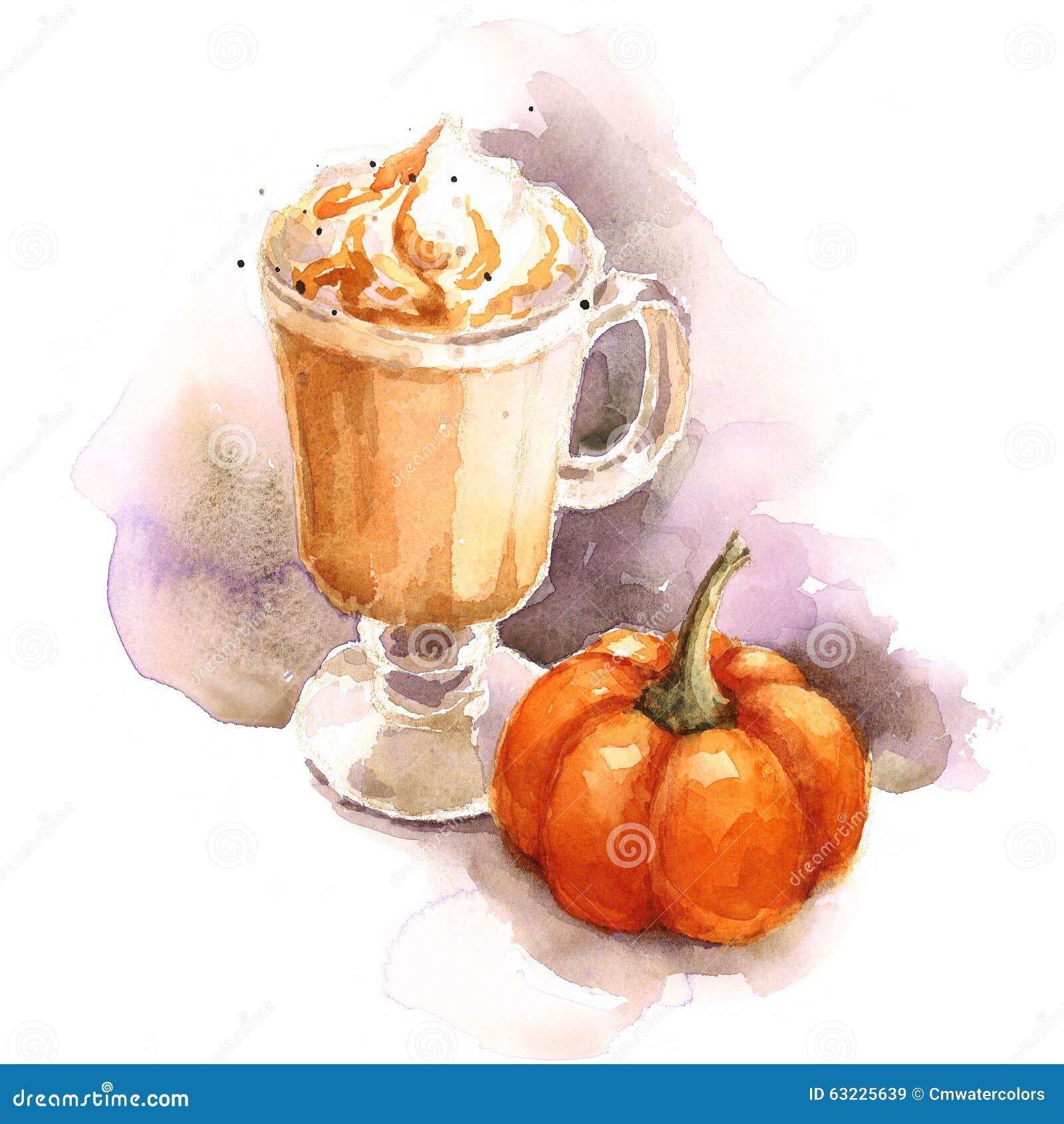 Kürbis Latte-Aquarell-Kaffee-Illustrations-Hand gezeichnet