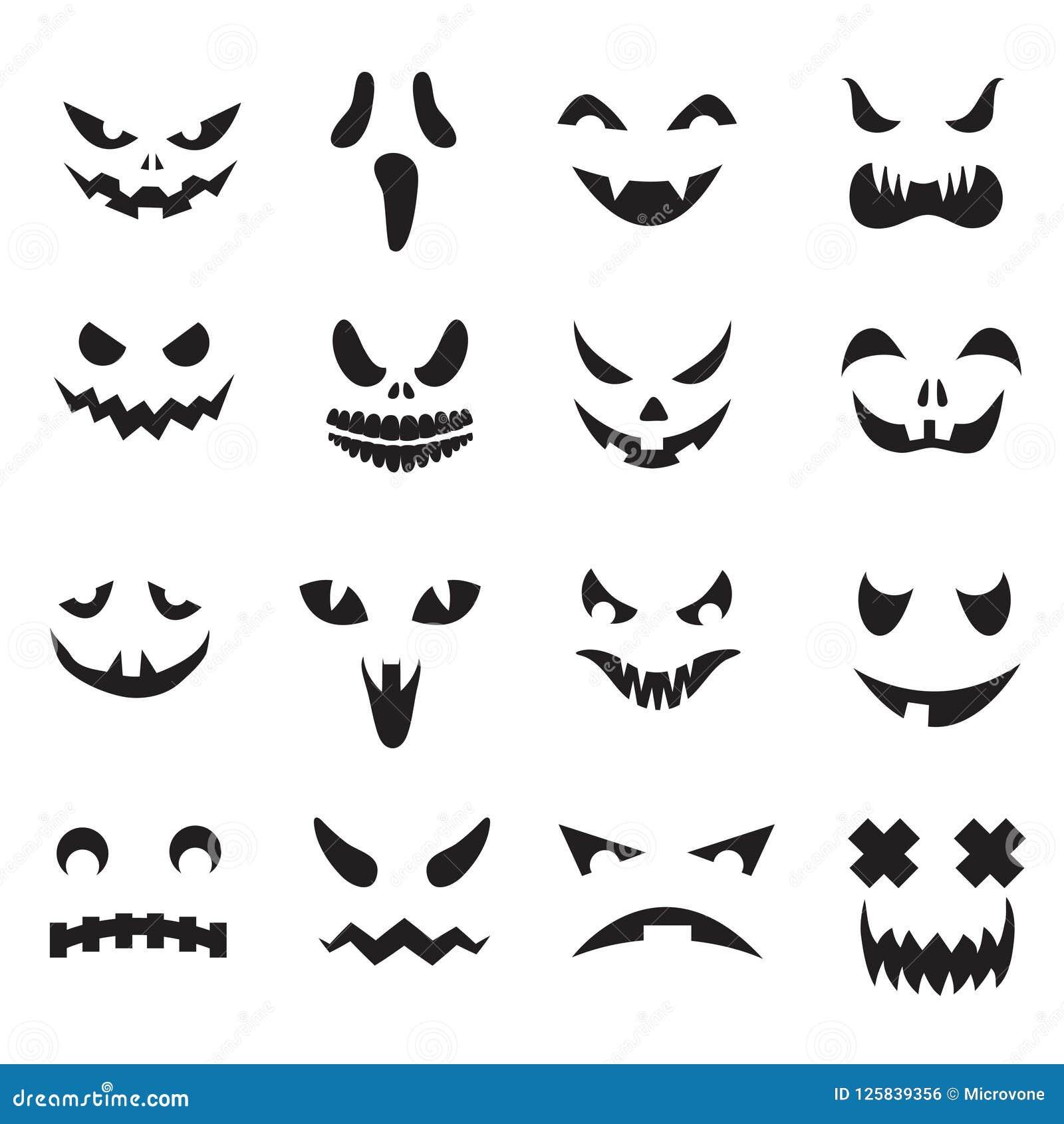 Kürbisgesichter Laternen-Gesichtsschattenbilder Halloween-Steckfassung O Monstergeist, der furchtsame Augen und die Mundvektoriko