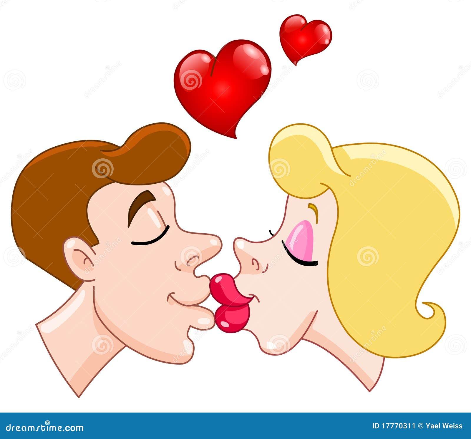 Karikatur der küssenden paare mit inneren