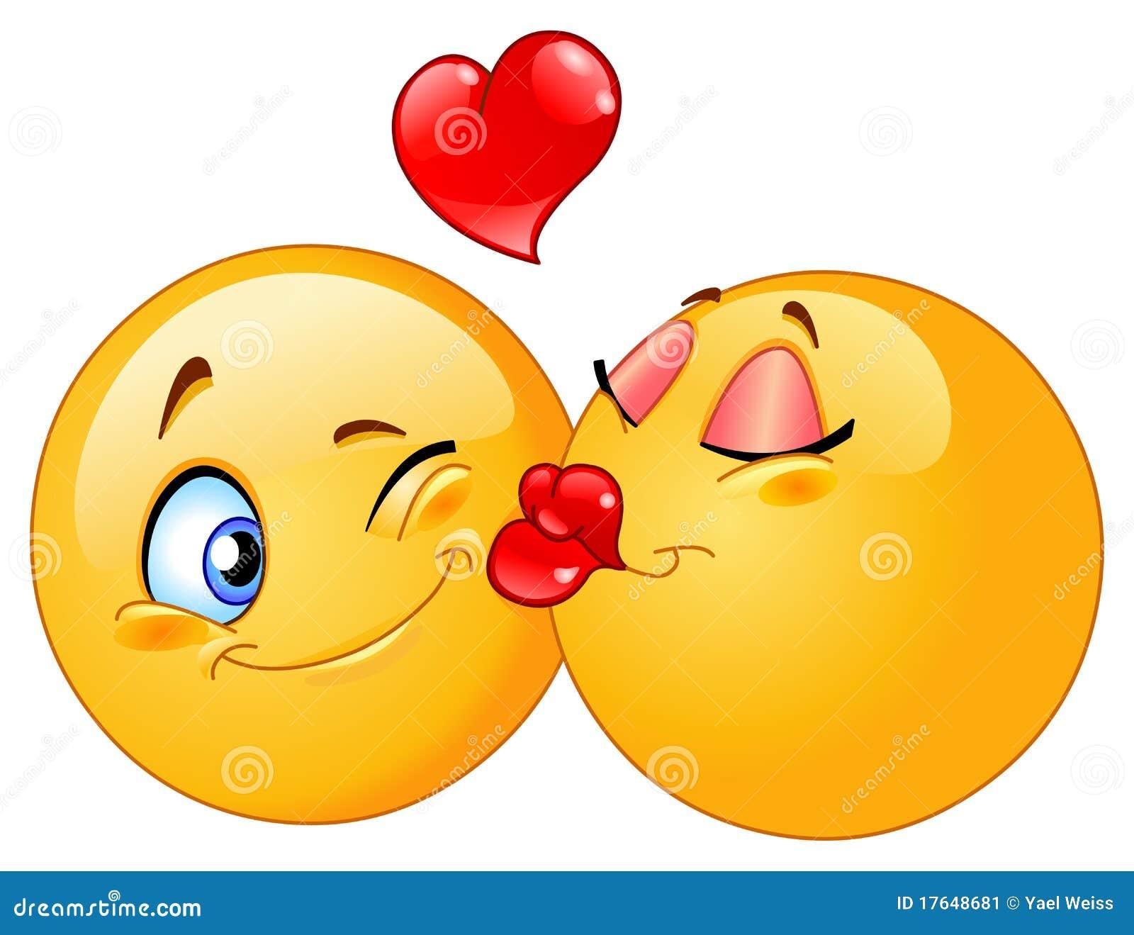 Karikaturauslegung der küssenden emoticons