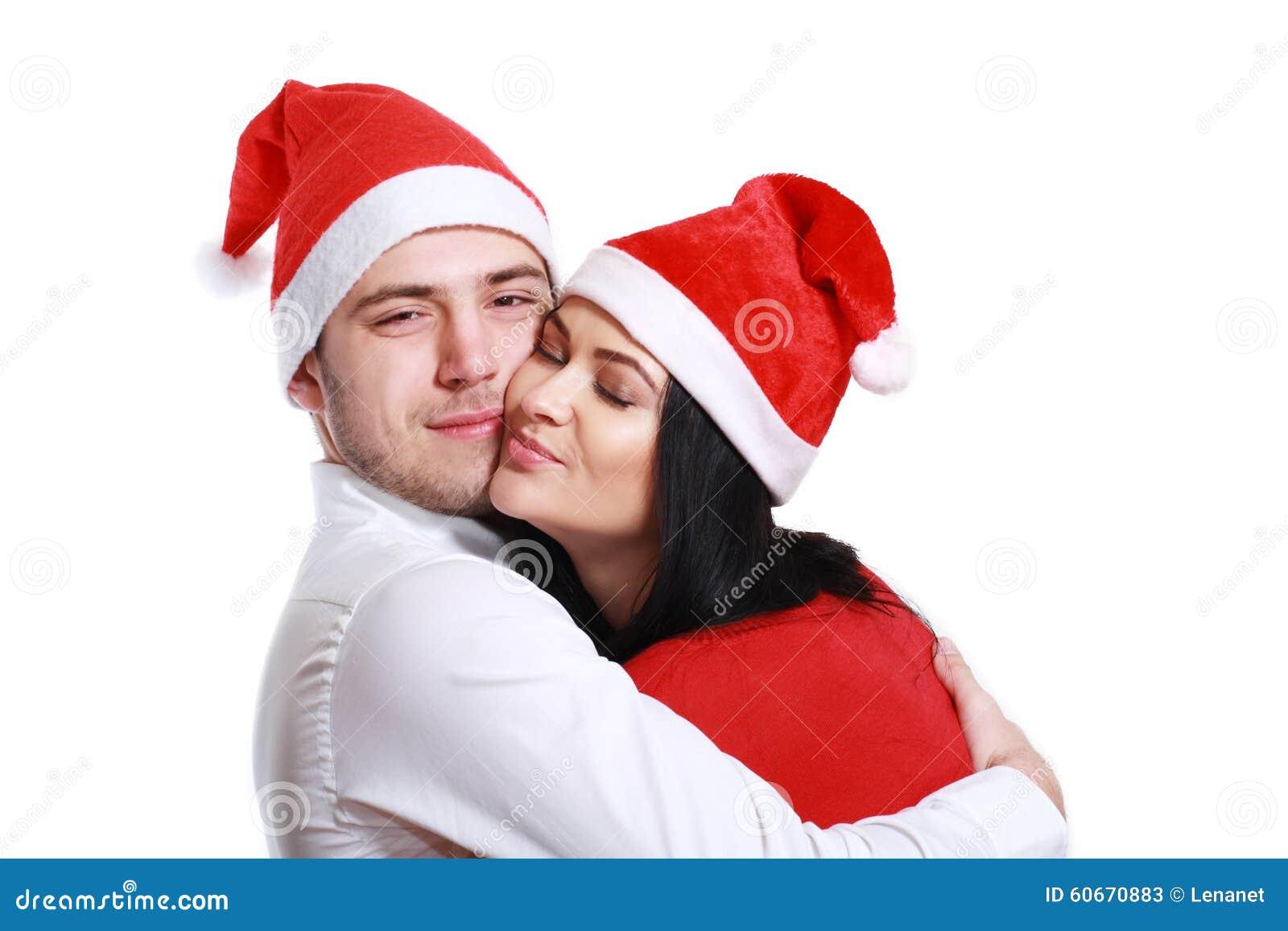 Küssen Von Paaren Im Weihnachten Stockbild - Bild von schön, kuß ...