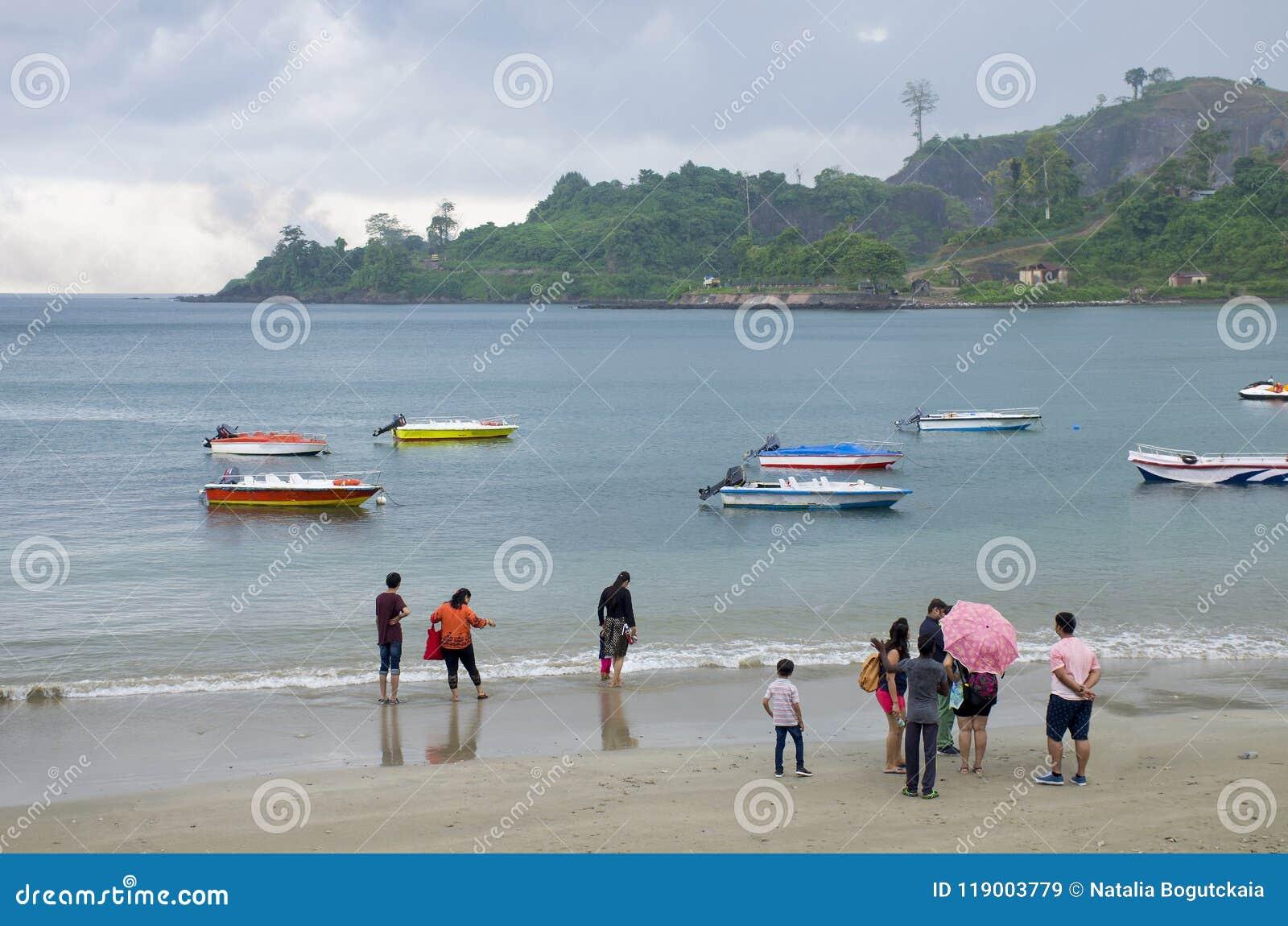 Küsten-Seehafen Blair India des Regens tropischer