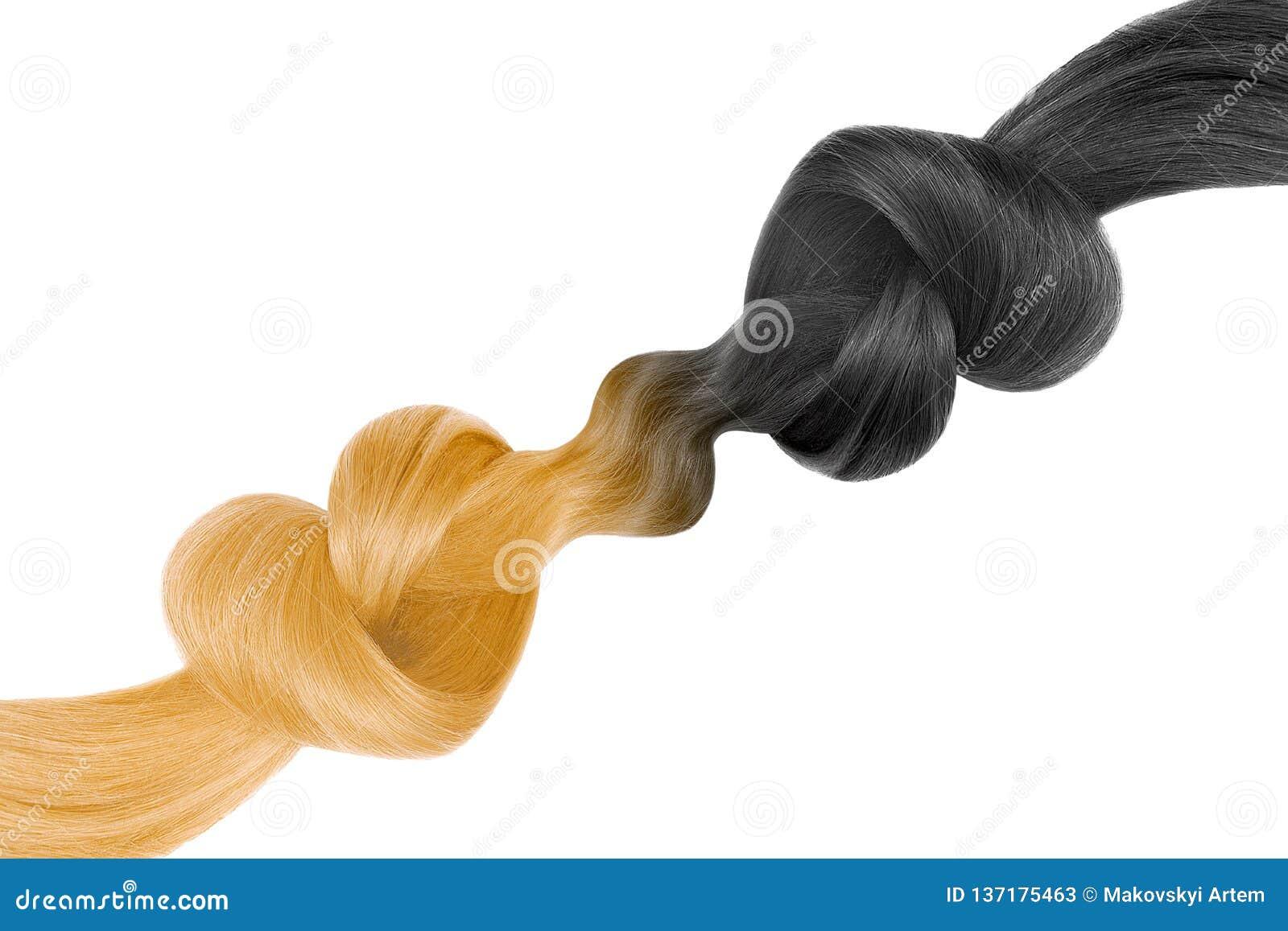 Kępki włosy w kształcie serce, odizolowywającym na białym tle czarny blondyny balonowa czarny opieki pojęcia kobieta