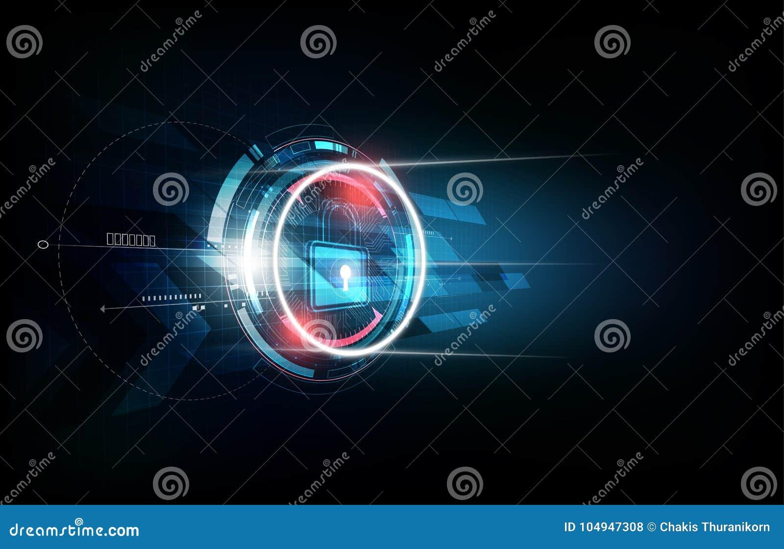 Kłódka z ochrona kędziorka pojęciem i futurystycznym elektronicznym technologii tłem, wektorowa ilustracja