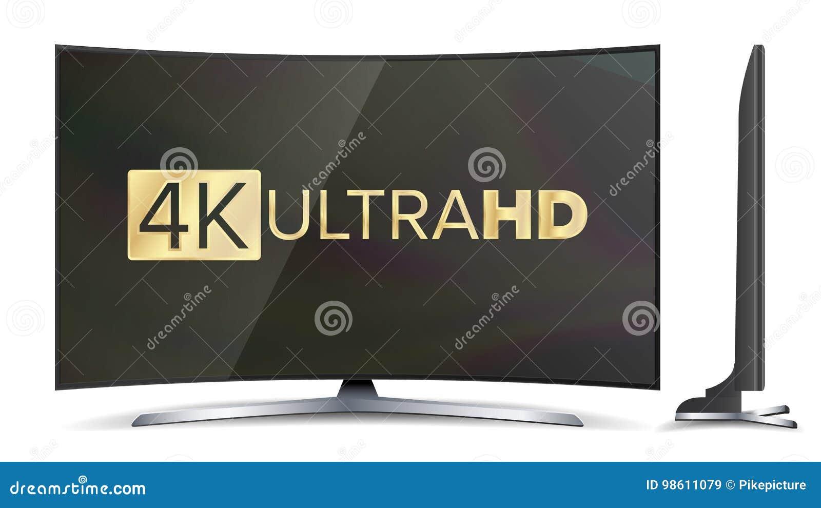 4k电视传染媒介屏幕 UHD标志 超电视HD决议格式 例证