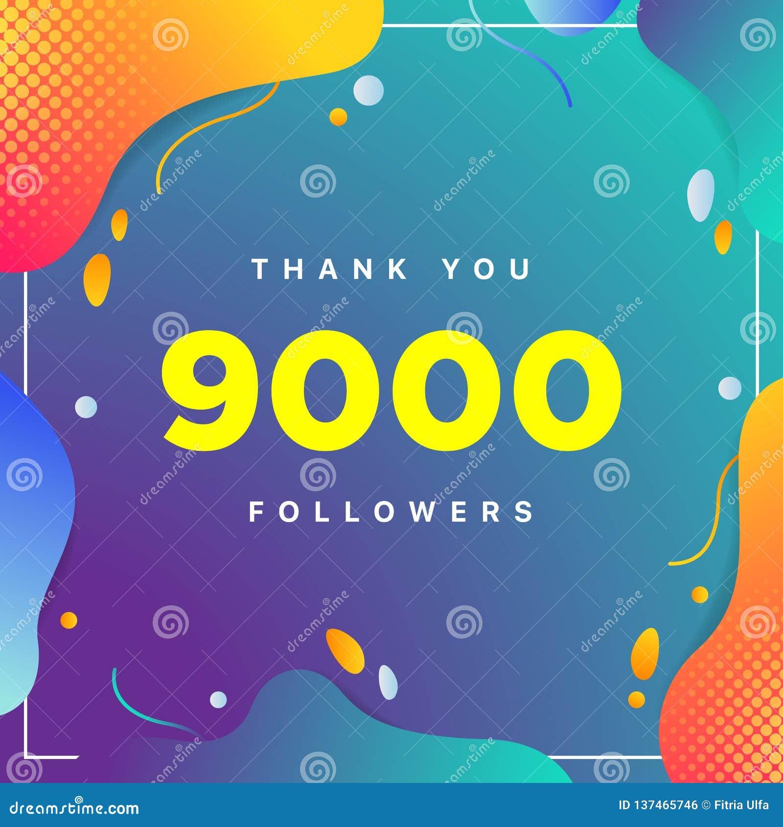 9000 of 9k, aanhangers danken u kleurrijk geometrisch aantal als achtergrond samenvatting voor Sociale Netwerkvrienden, aanhanger