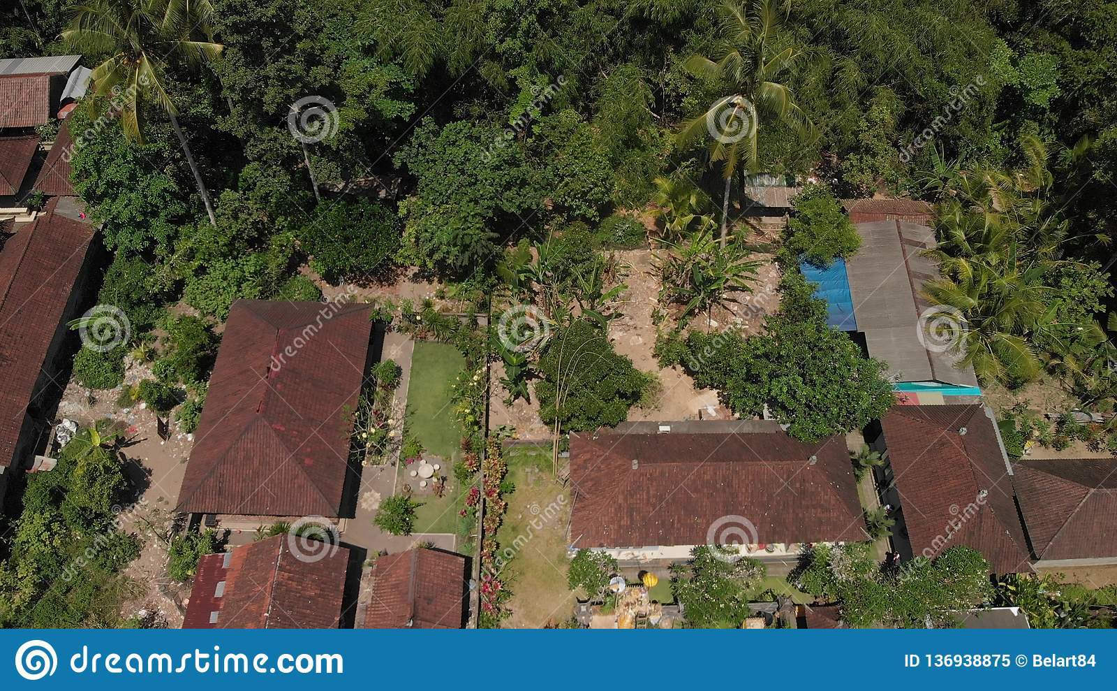 4k Aerial View Of Traditional Balinese Houses Flying Over Balinese Village Bali Island Stock Image Image Of Drone City 136938875