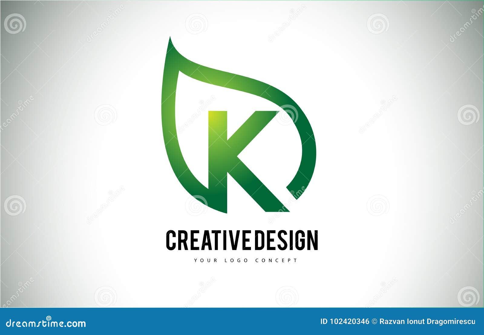 K Blatt Logo Letter Design Mit Grunem Blatt Entwurf Vektor