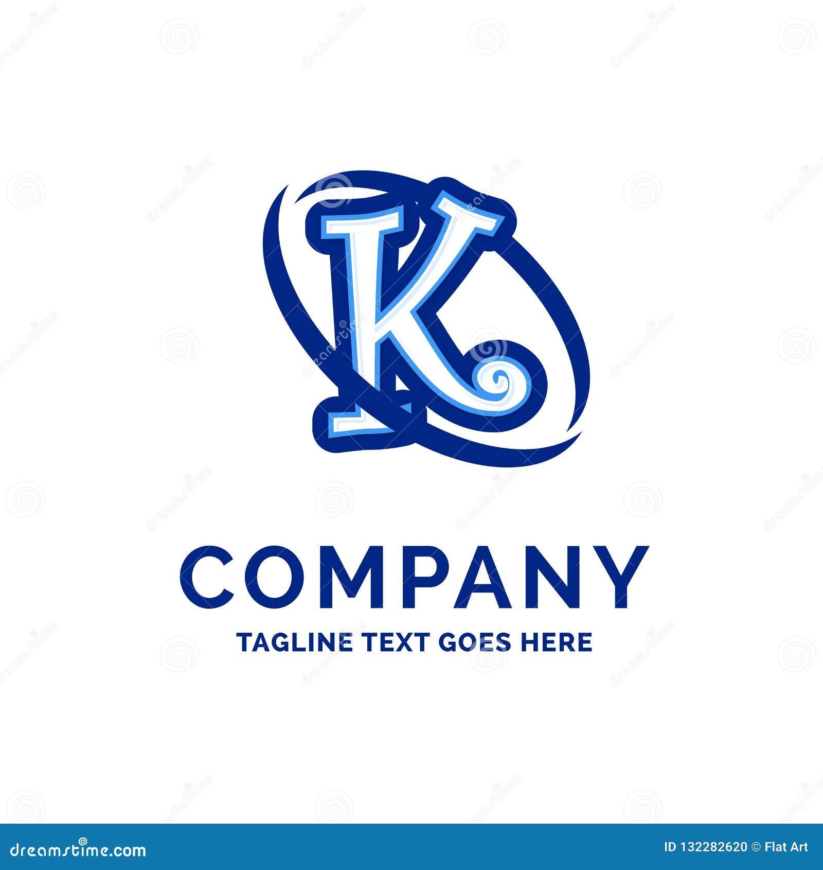 k Company Name Design Blue Logo Design