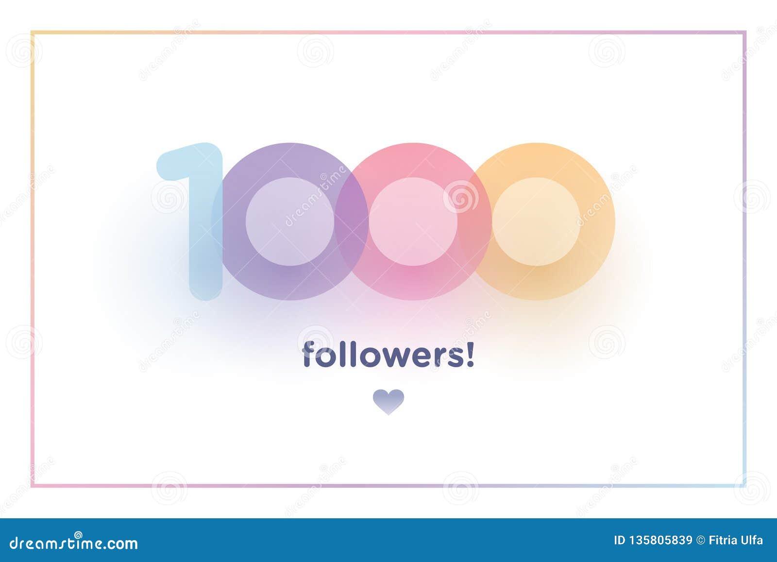 1k eller 1000, anhängare tackar dig det färgrika bakgrundsnumret med mjuk skugga Illustration för sociala nätverksvänner, anhänga