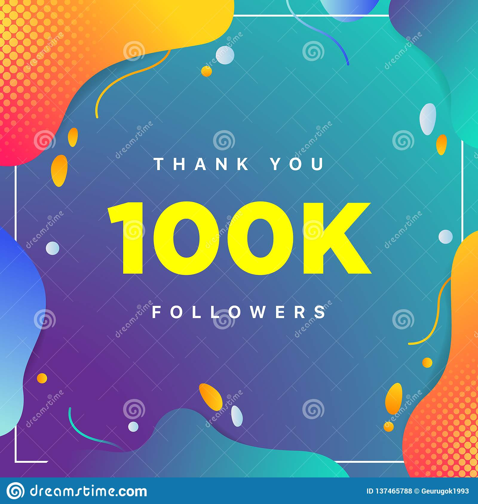 100k or 100000, followers thank you colorful geometric background number. abstract for Social Network friends, followers, Web user
