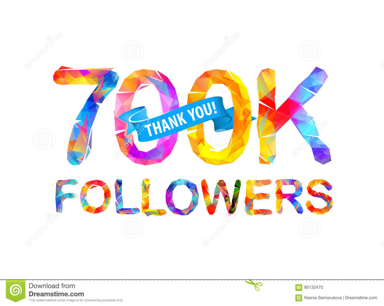 58f97b2f39c 700K followers. Thank you! stock vector. Illustration of like - 95132470