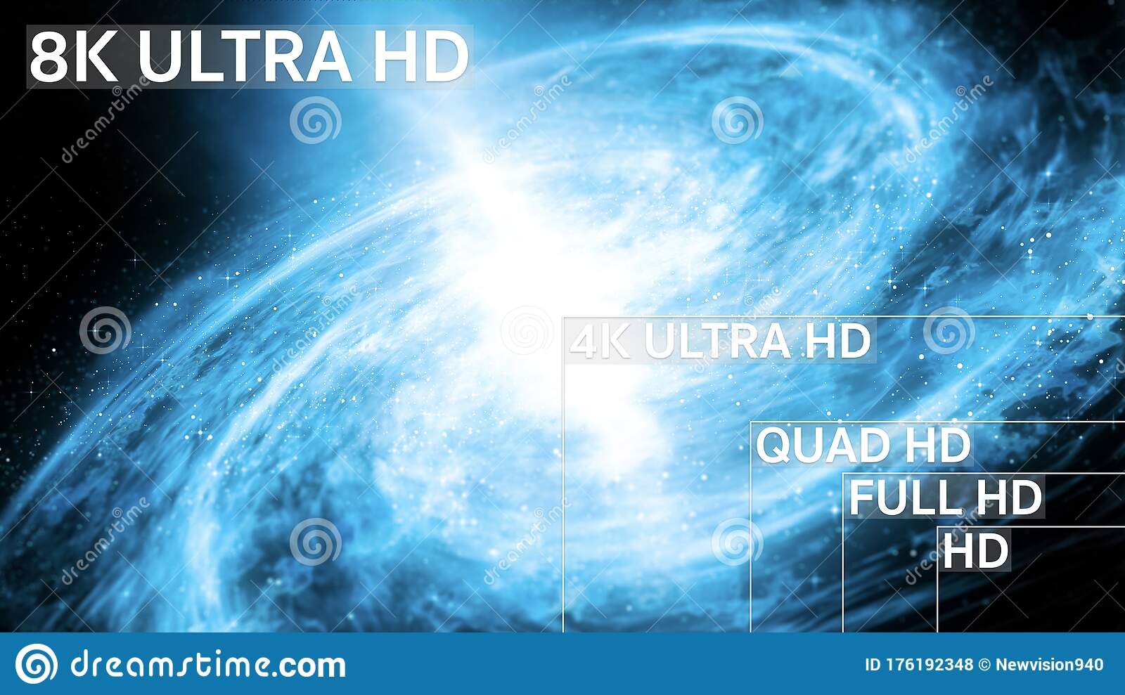 8k 4k Full Hd Hd Standard Television Resolution Size Stock Illustration Illustration Of Resolution Space 176192348