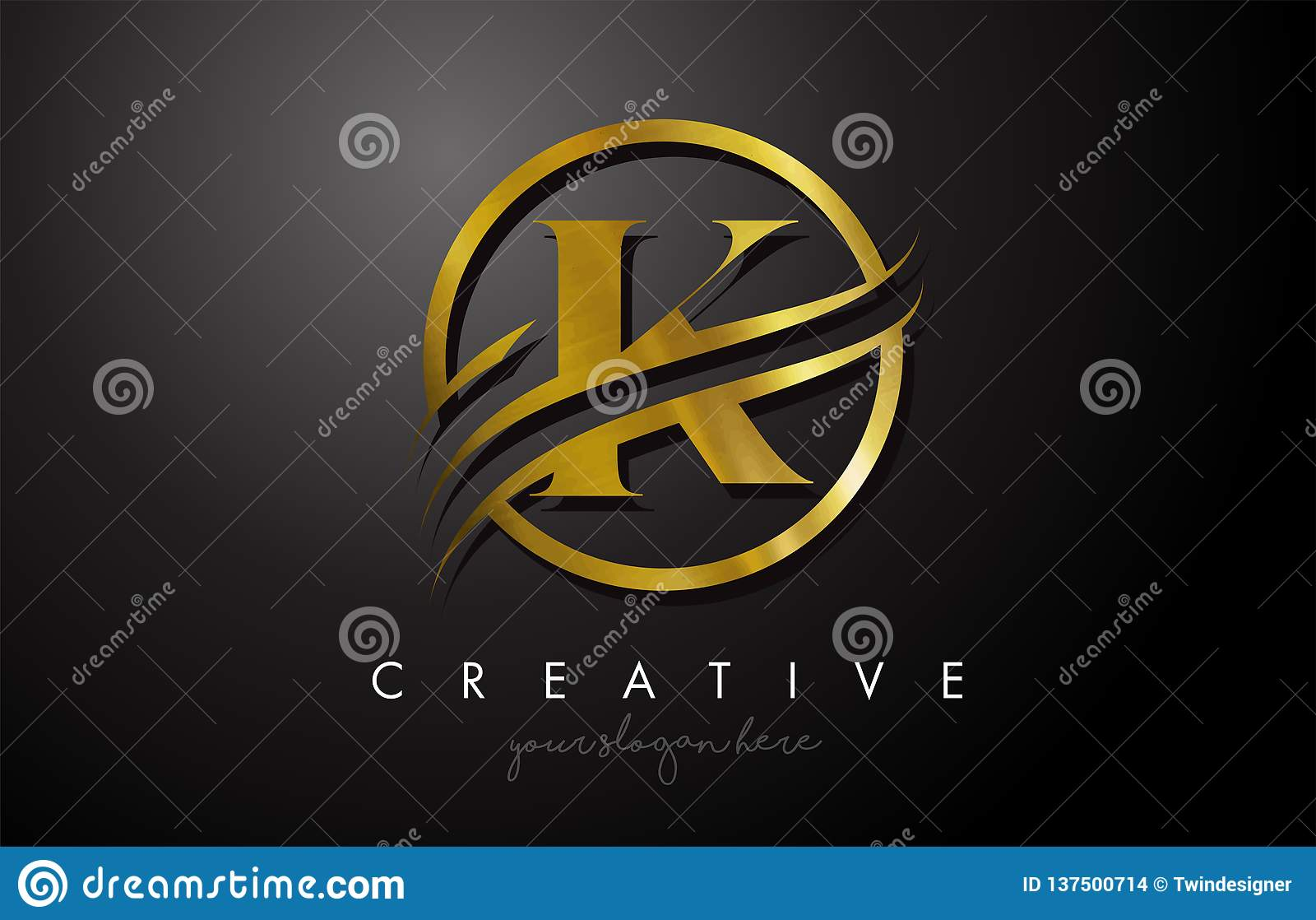 K Golden Letter Logo Design With Circle Swoosh And Gold