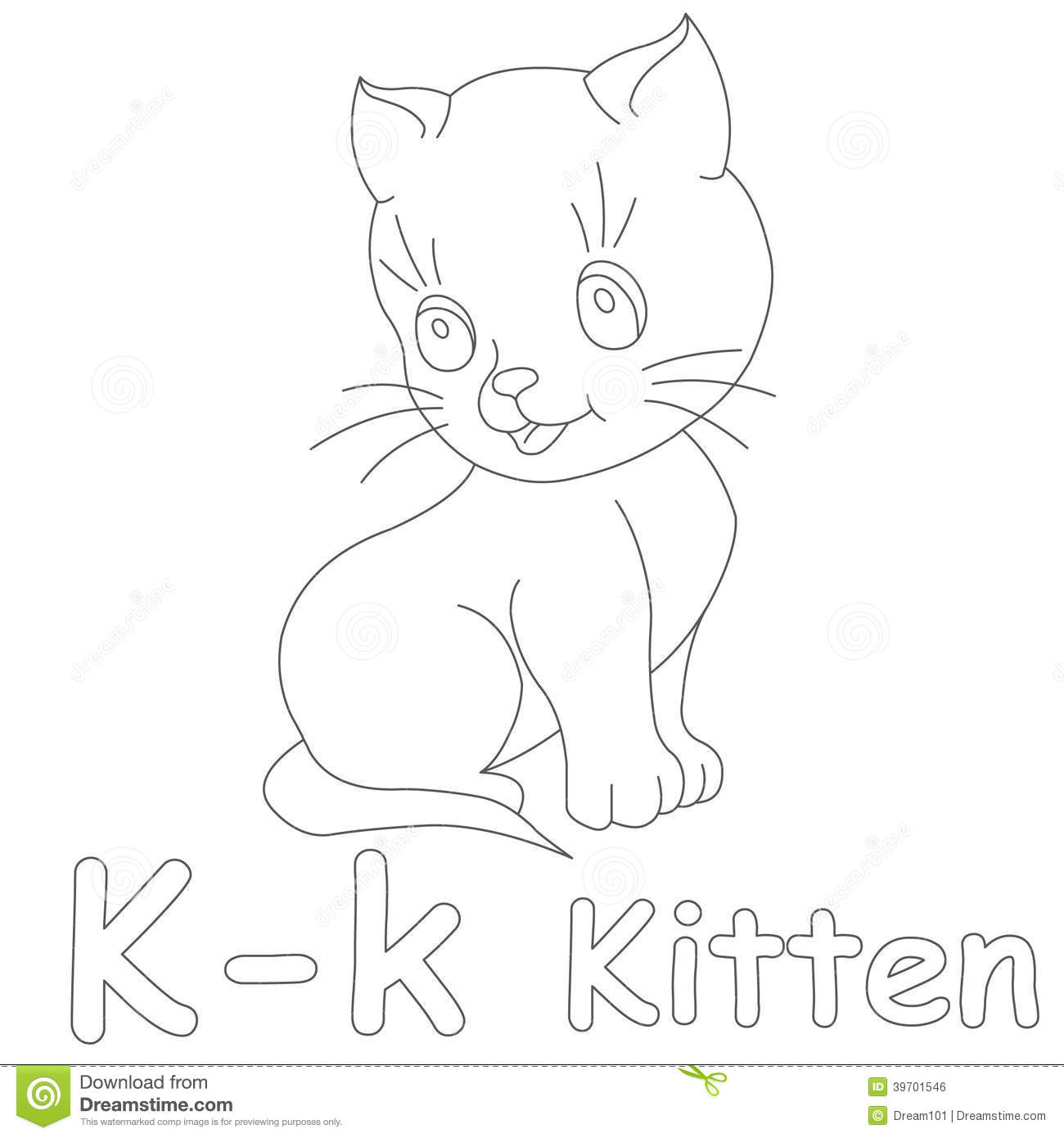 k for kitten coloring page stock illustration image 39701546