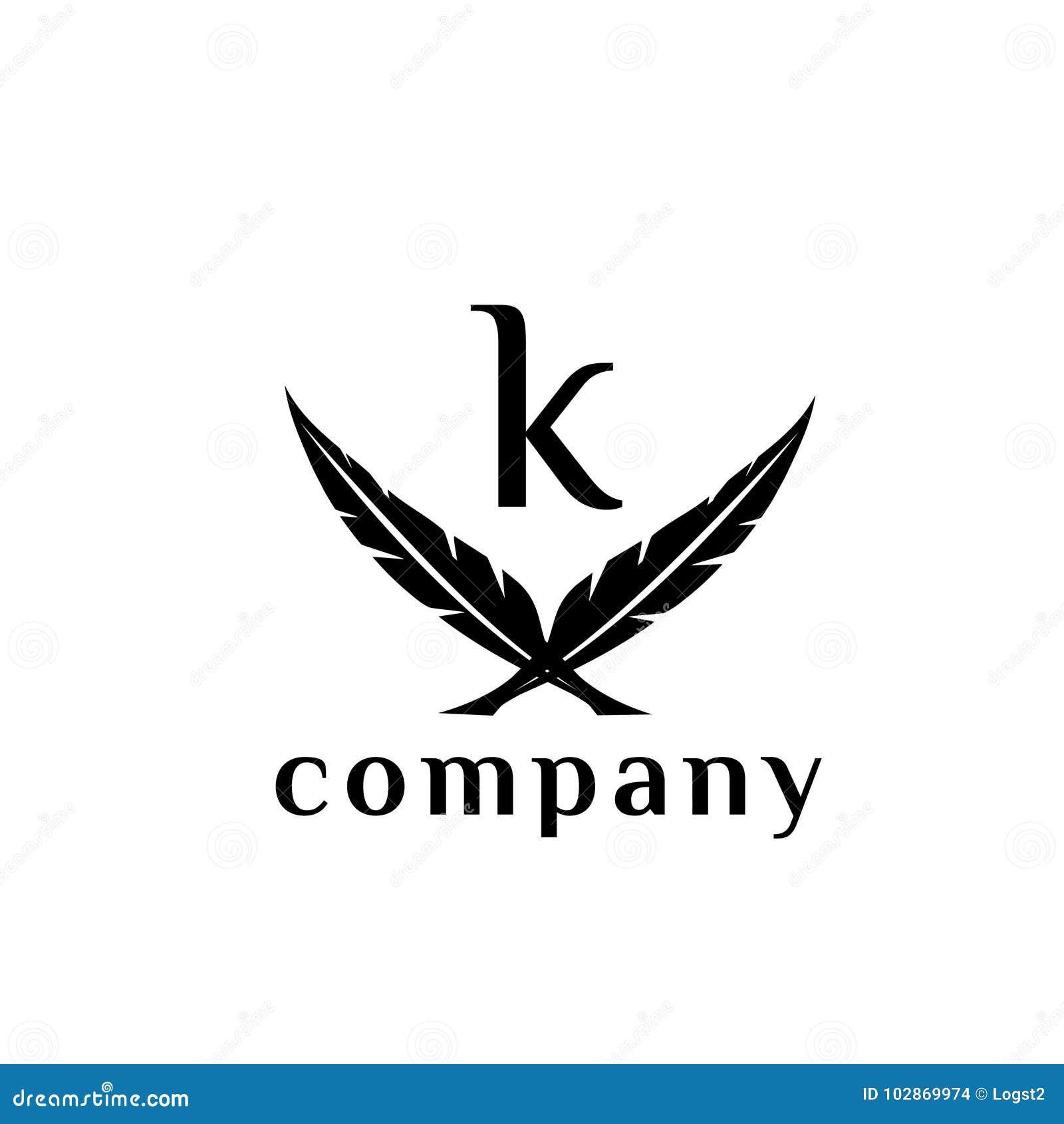 k letter feather vector logo design template stock vector
