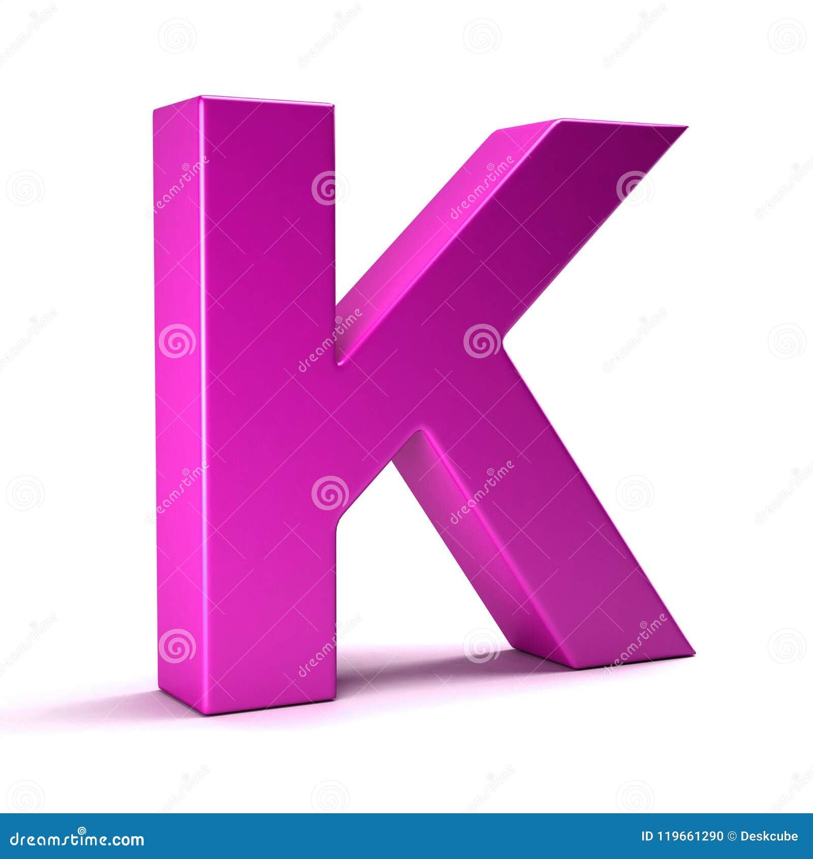 Letter K Initial Girl Pink Color. 3D Render Illustration Stock ...