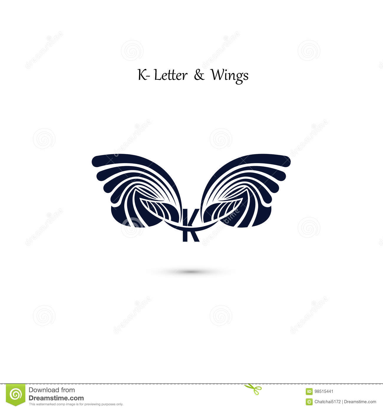 k letter sign and angel wingsmonogram wing vector logo template