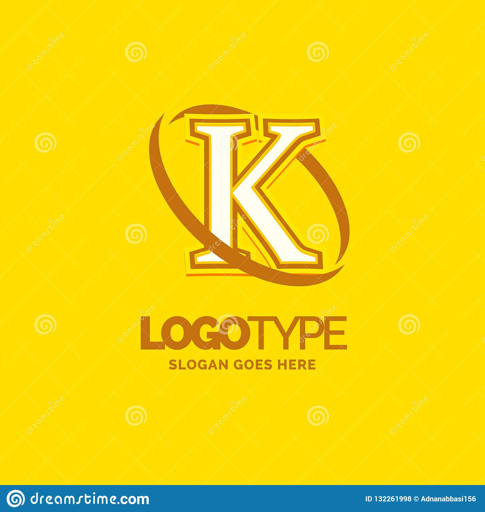 K Logo Template Yellow Background Circle Brand Name